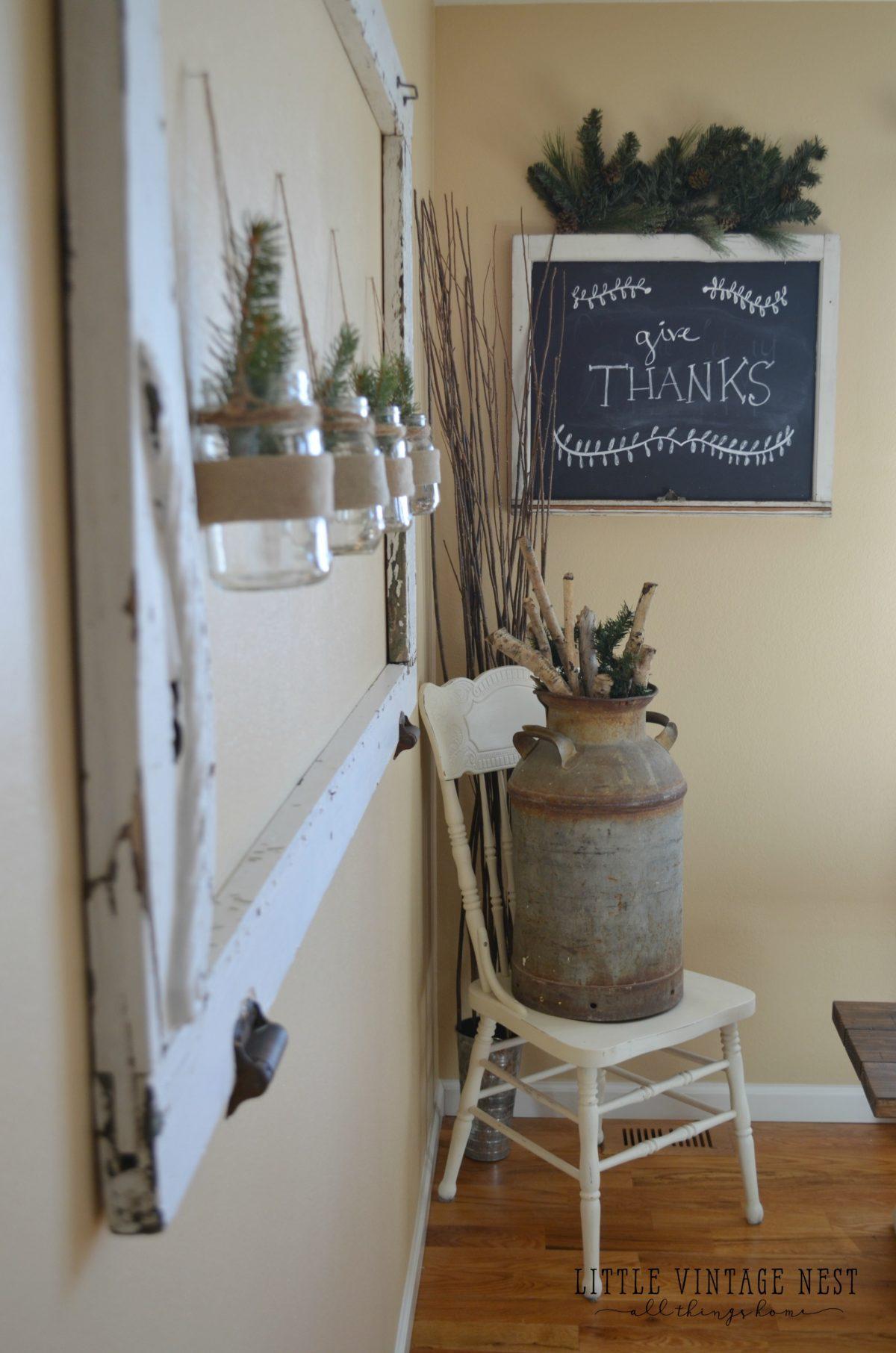 Easy diy chalkboard from an old window little vintage nest for Farmhouse style windows