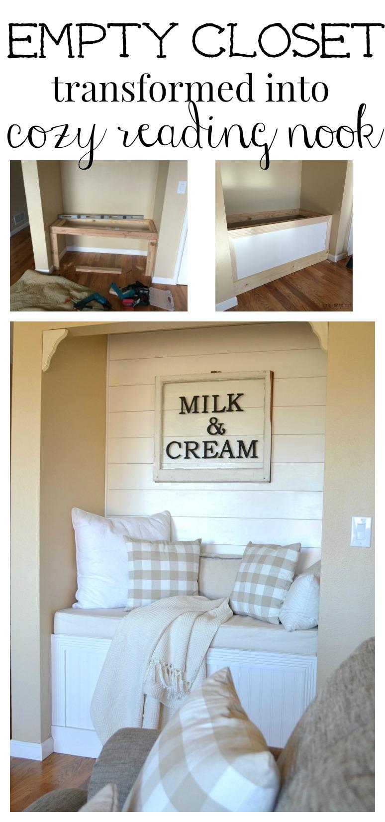 Empty Closet Transformed into Cozy Reading Nook in Farmhouse Style Living Room. Brilliant DIY project!