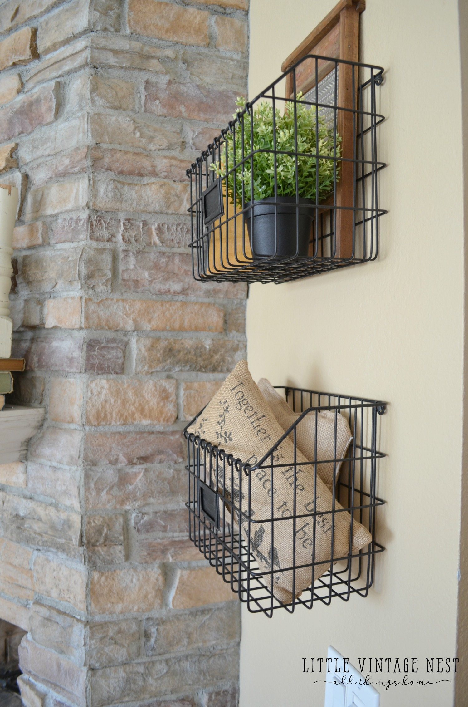 Ideal Farmhouse Style: Decorating with Wire Baskets - Little Vintage Nest RE11