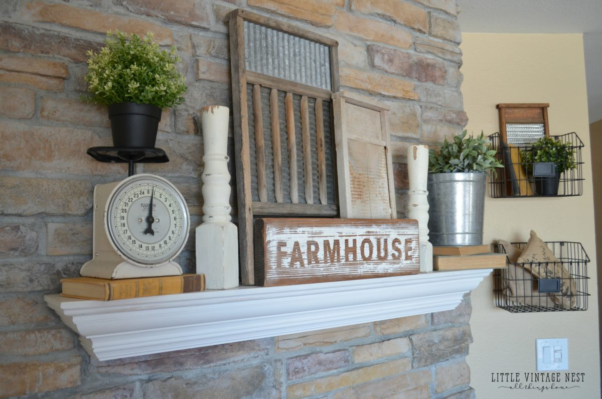 Fresh and simple farmhouse mantel little vintage nest - Fireplace mantel designs in simple and sophisticated style ...