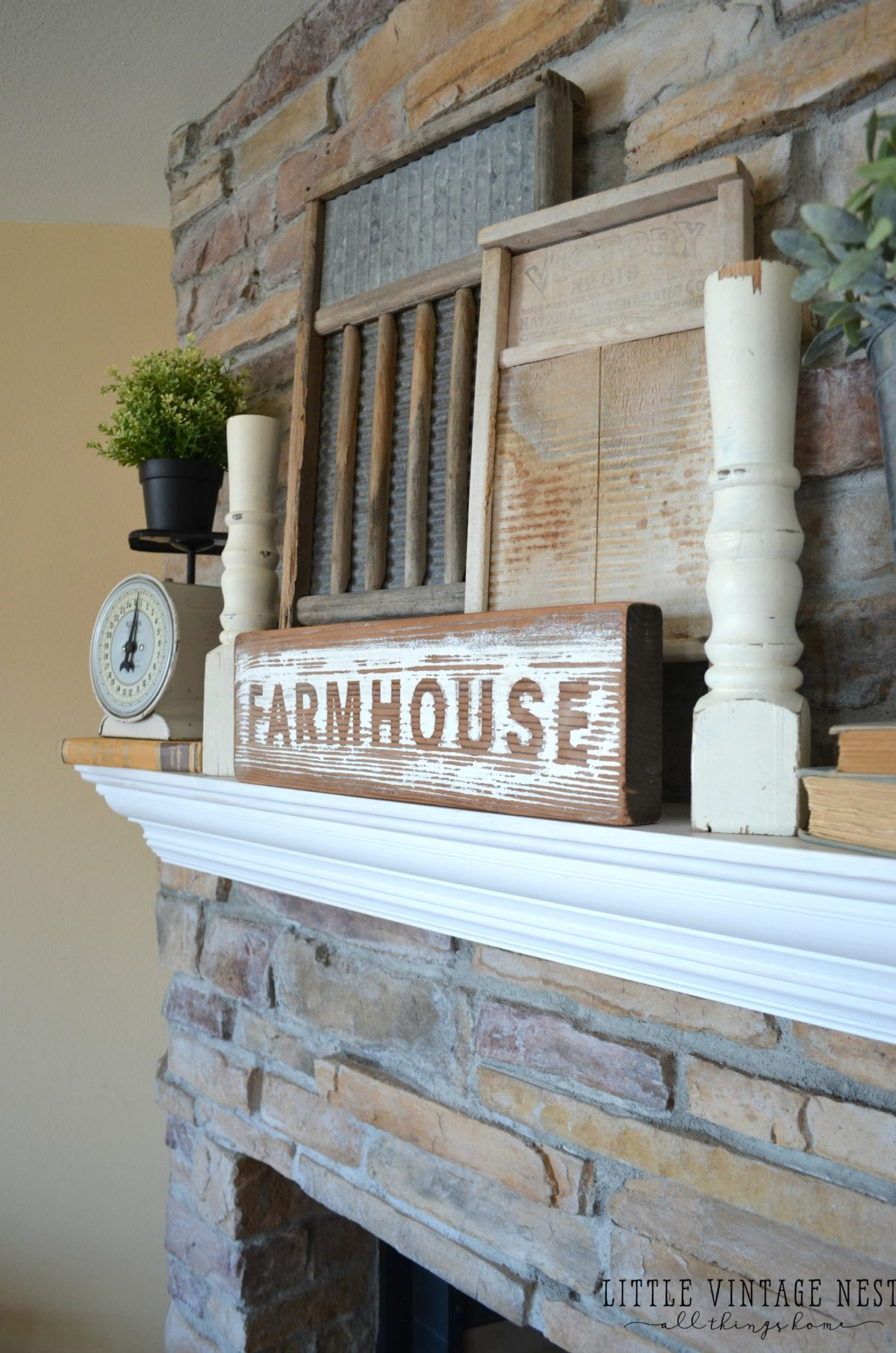Fresh and simple farmhouse mantel little vintage nest - How to decorate your house ...