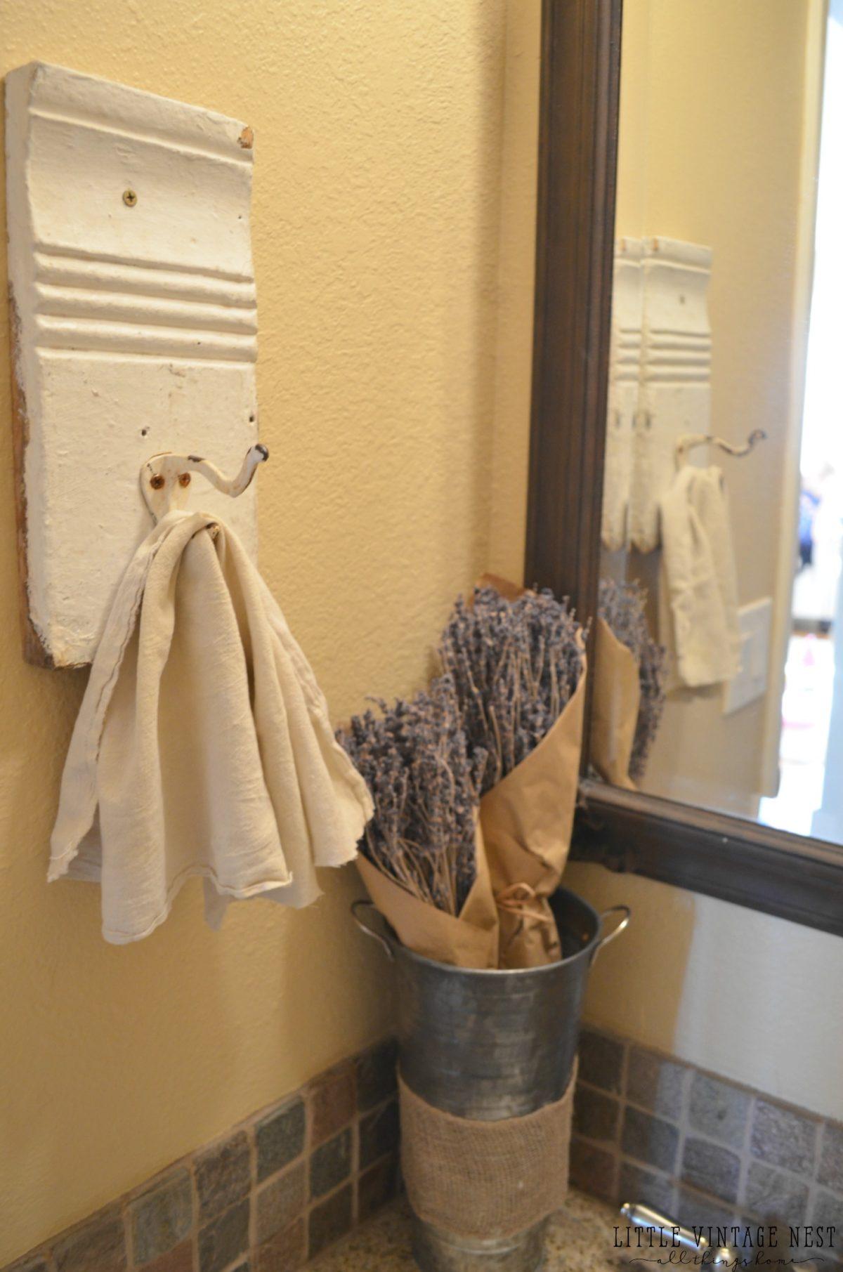 Farmhouse Bathroom Decor::Lavender and Vintage Towel Rack