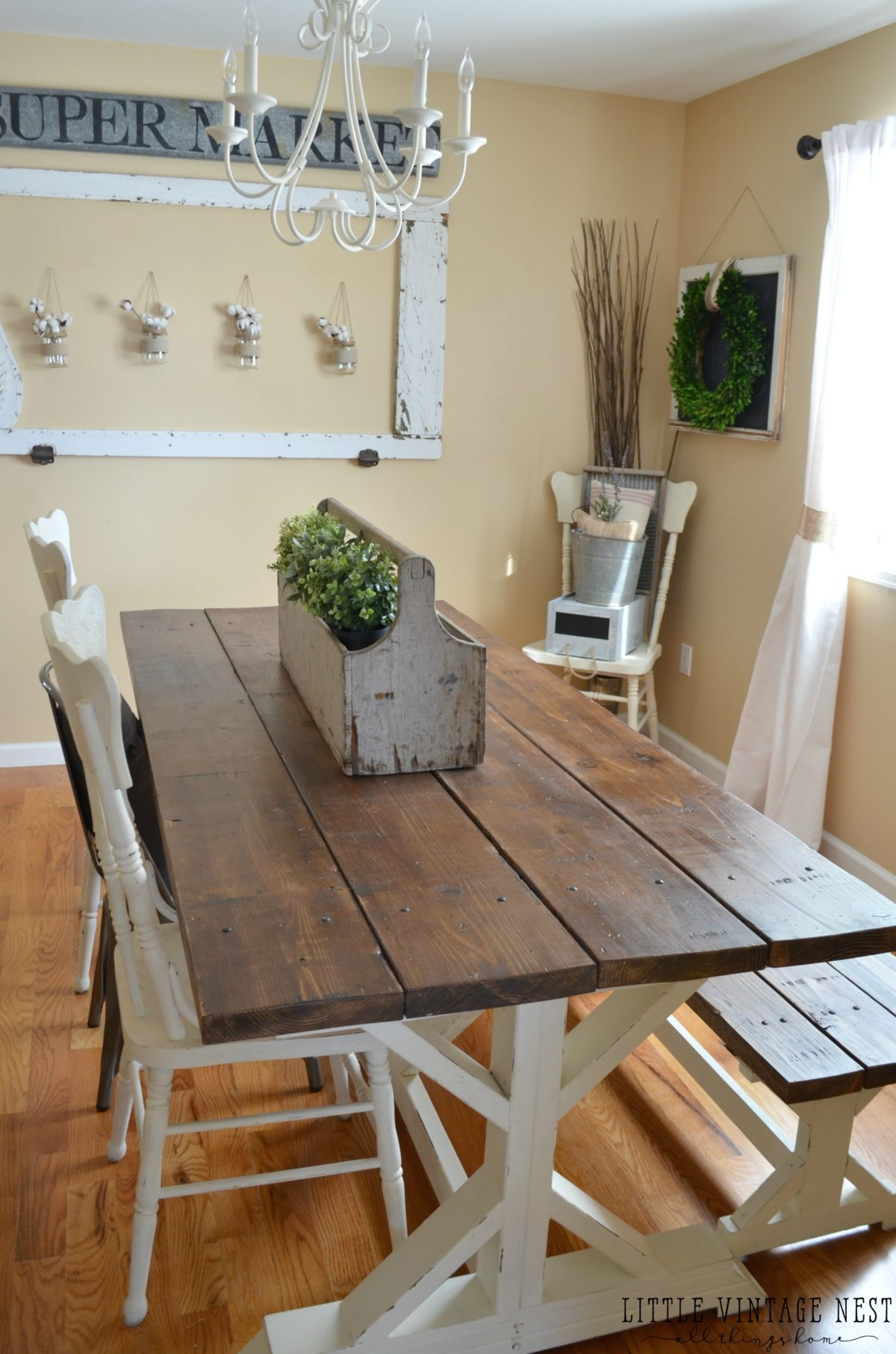 Modern farmhouse dining room makeover little vintage nest for Dining room farm table