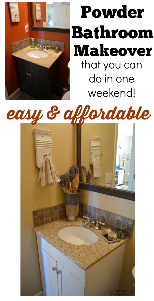 Easy and affordable powder bathroom makeover you can do in one weekend. Add farmhouse style to your bathroom in a few easy steps!