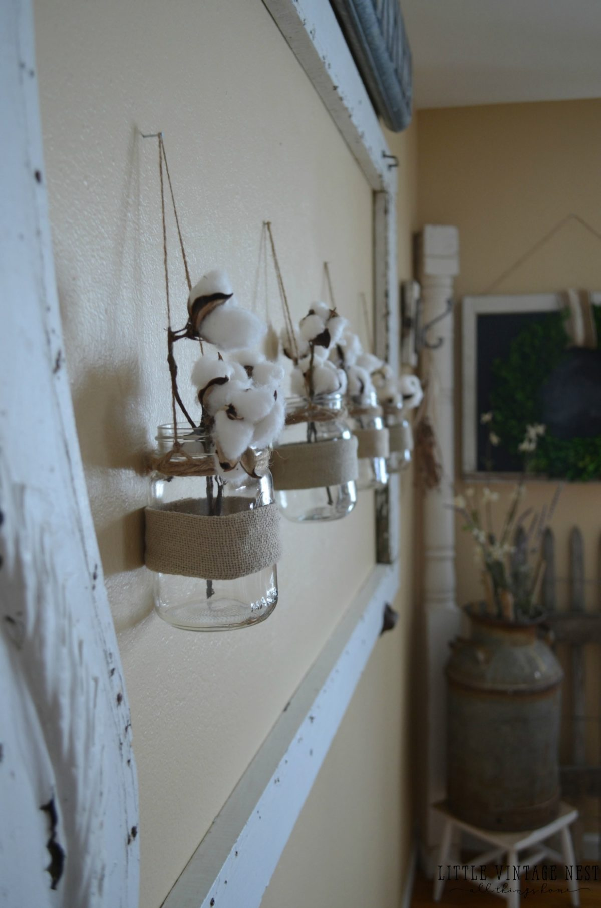 Cotton Stems in Jars Spring Home Tour