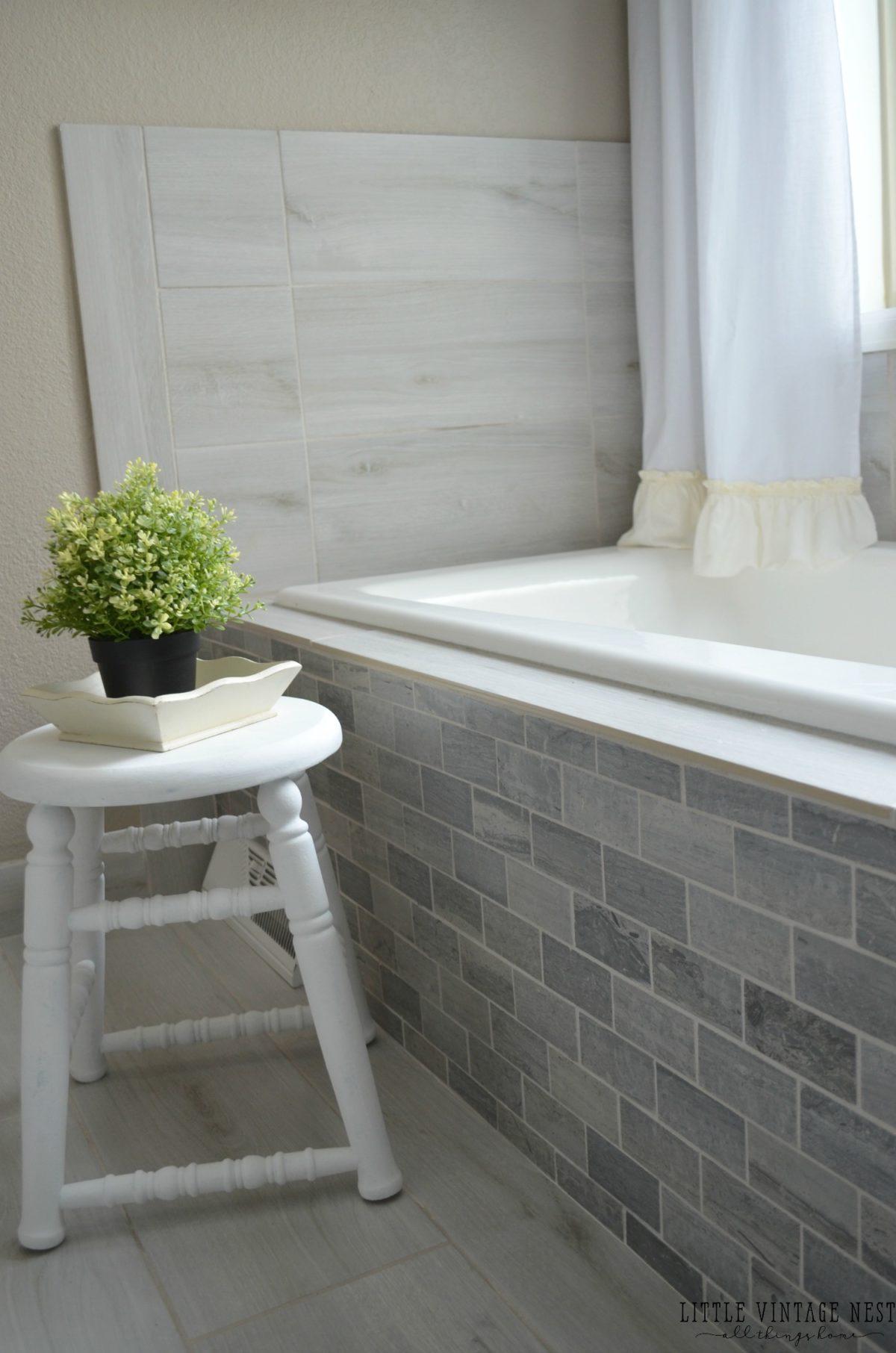 Farmhouse Master Bathroom Reveal - Little Vintage Nest on Farmhouse Tile  id=69447
