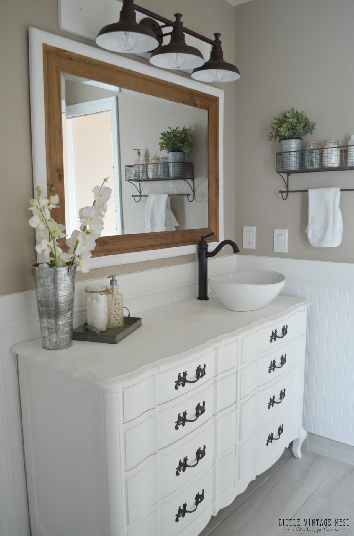 Farmhouse Bathroom Makeover Vintage Dresser Vanities