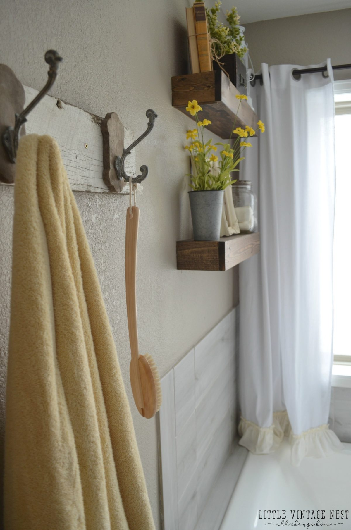Farmhouse Master Bathroom Makeover Floating Shelves