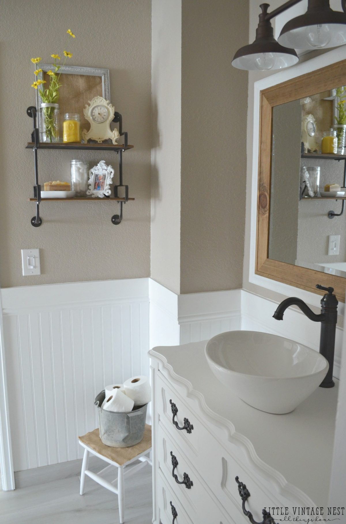 Farmhouse master bathroom reveal little vintage nest for Diy master bathroom ideas