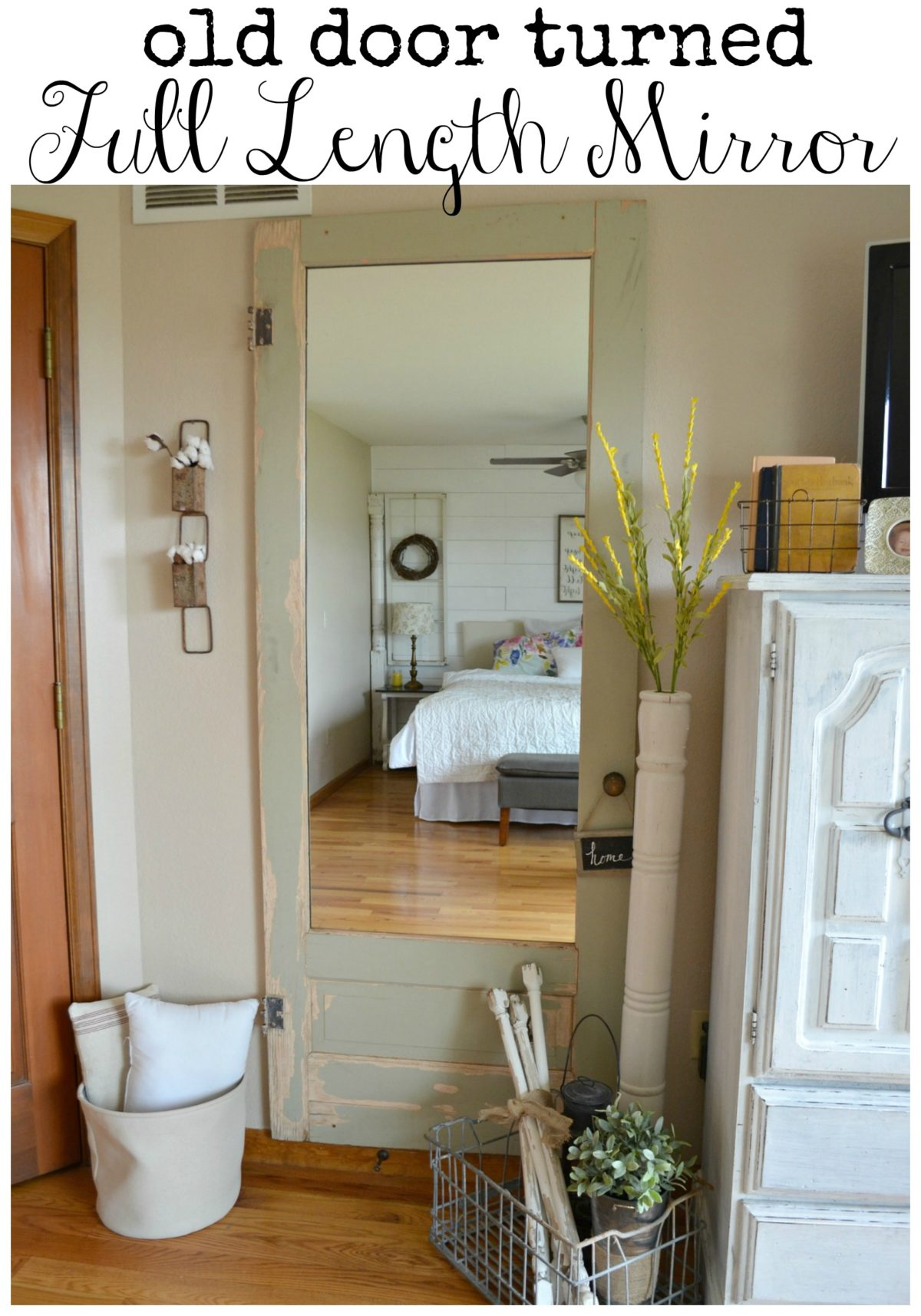 Elegant Old Door Turned Full Length Wall Mirror