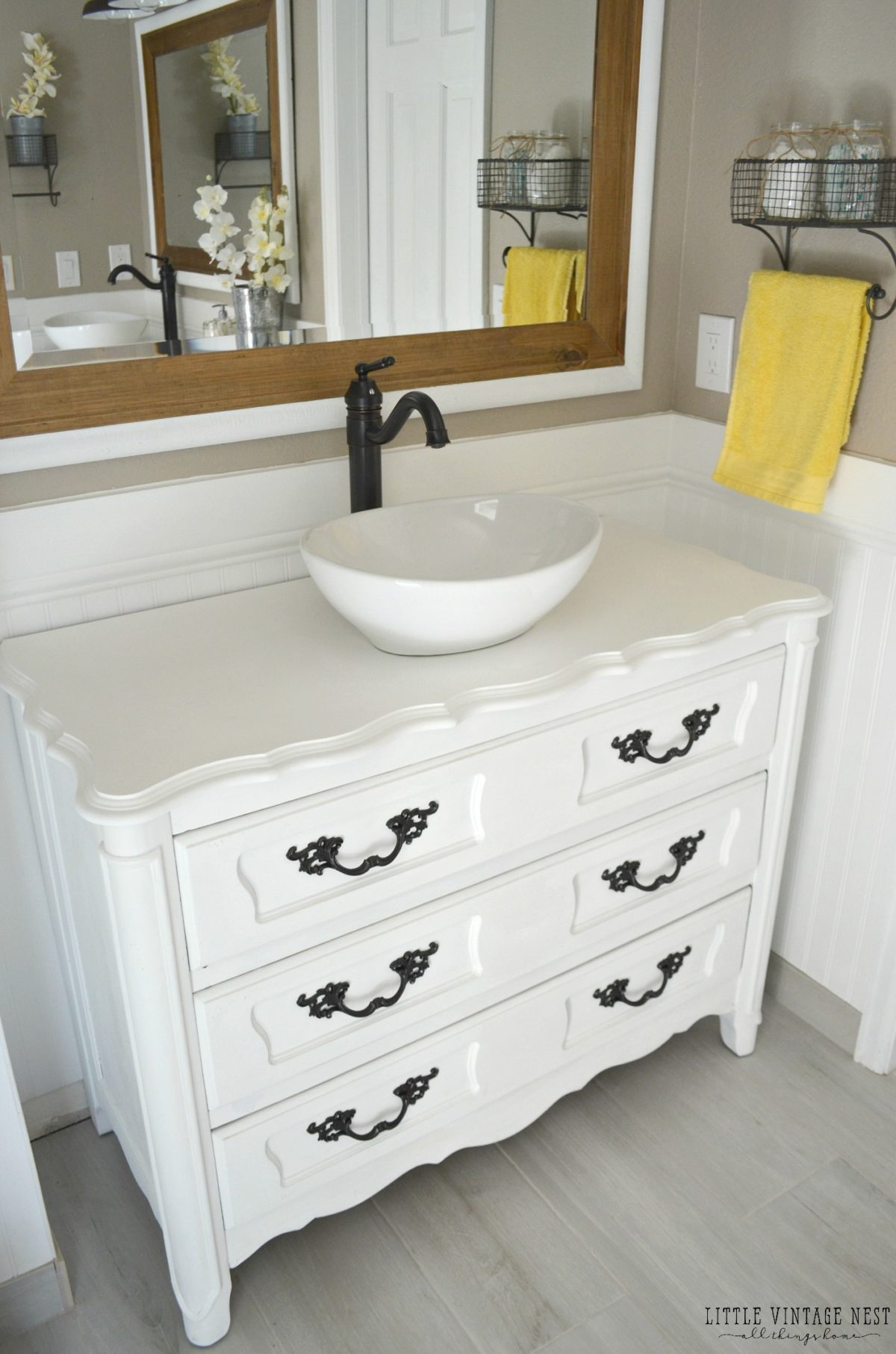 Step by step tutorial to turn an old dresser into bathroom vanity ... - Old Dresser Turned Bathroom Vanity Tutorial