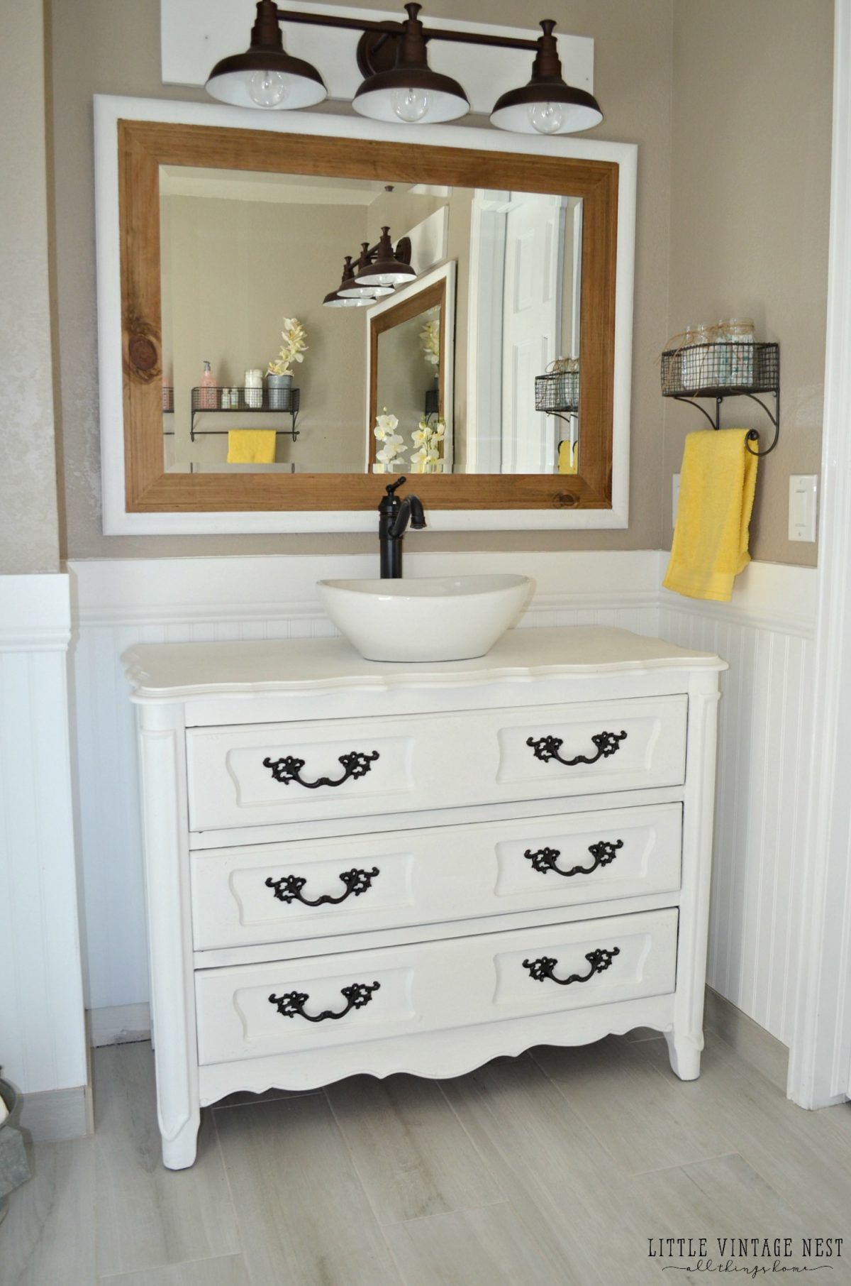 step by step tutorial to turn an old dresser into bathroom vanity - Antique Bathroom Vanity