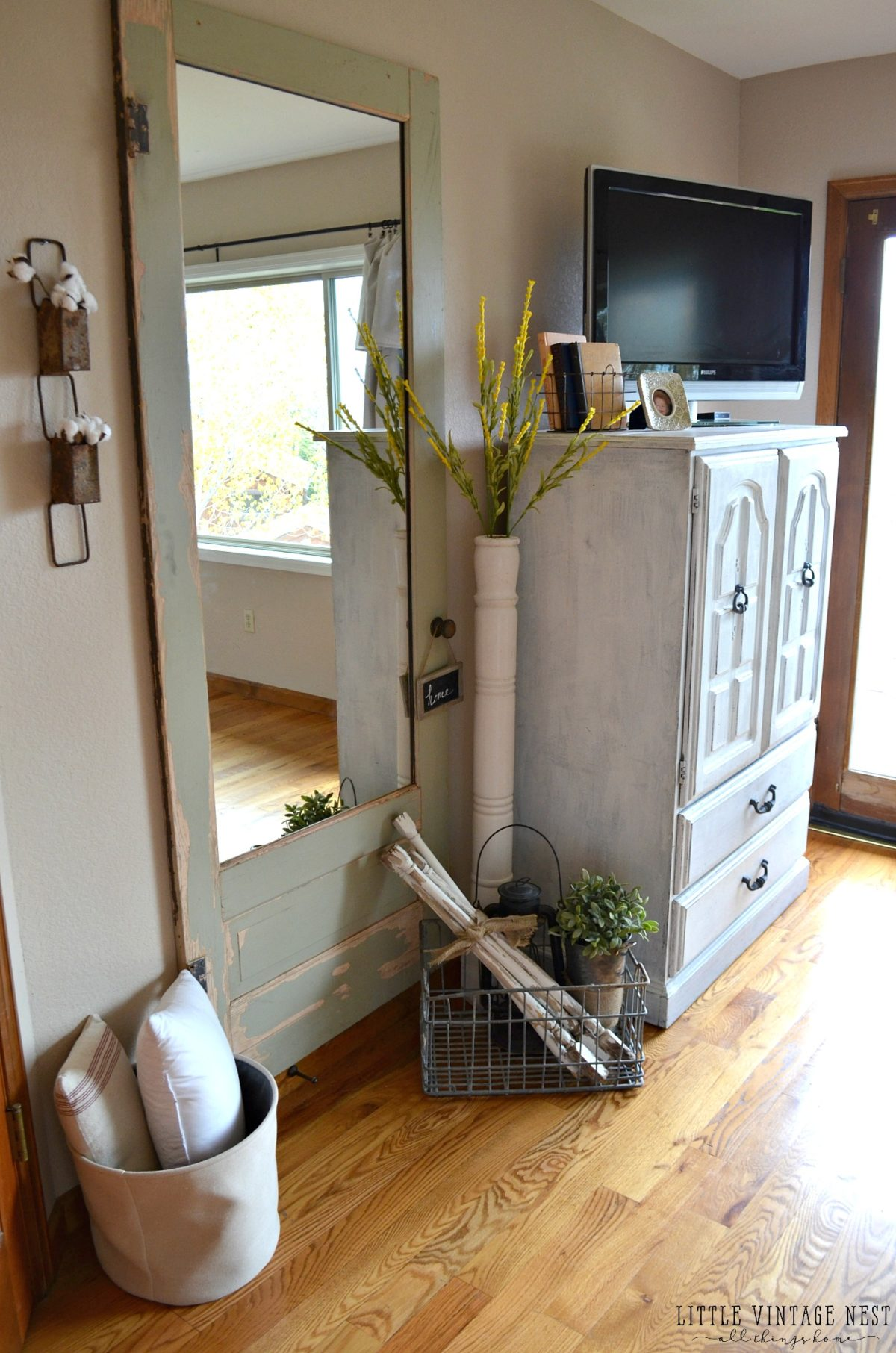 Marvelous Old Door Turned Into Full Length Wall Mirror DIY