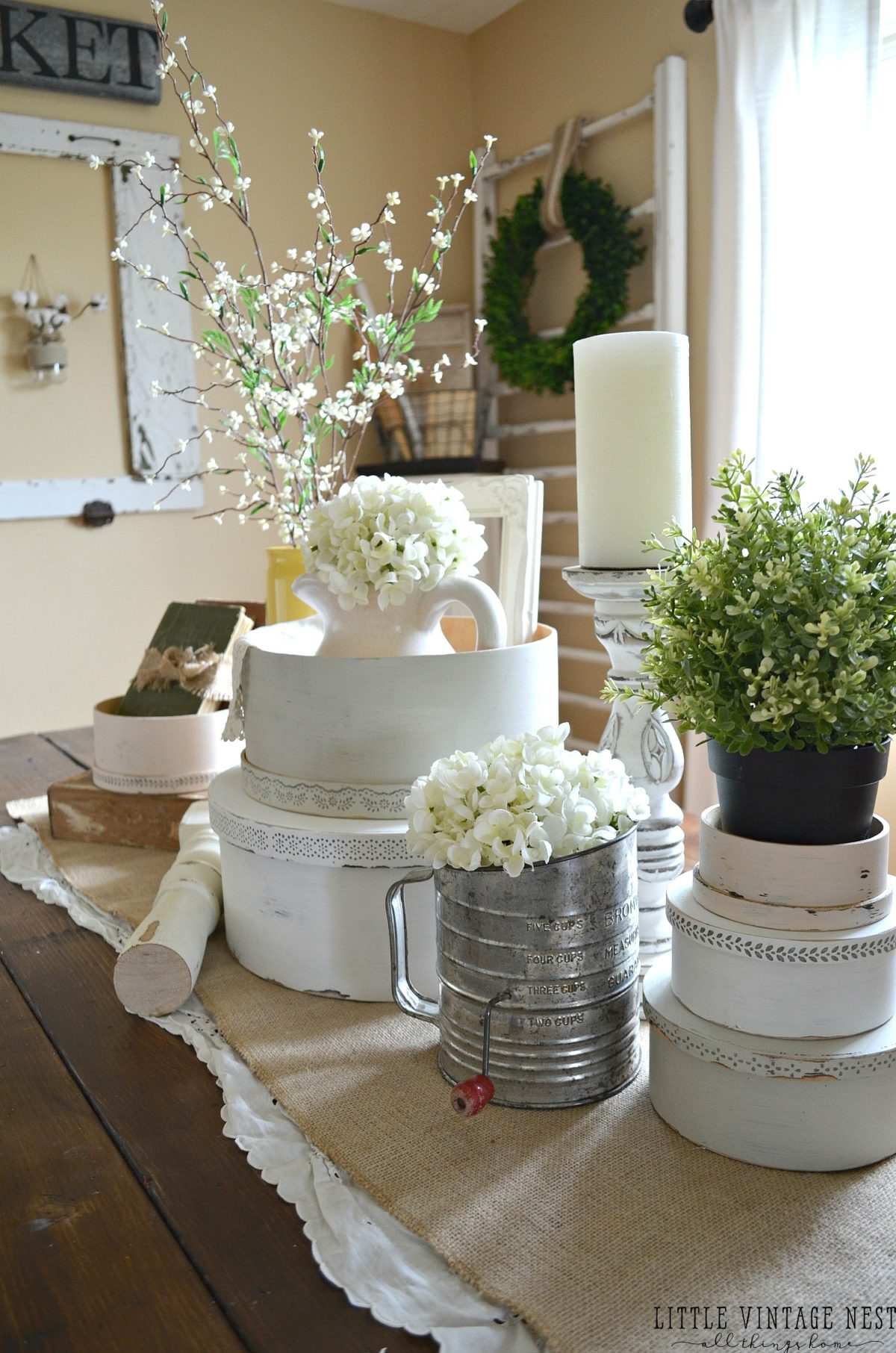 Spring Centerpiece with Vintage Hat Boxes