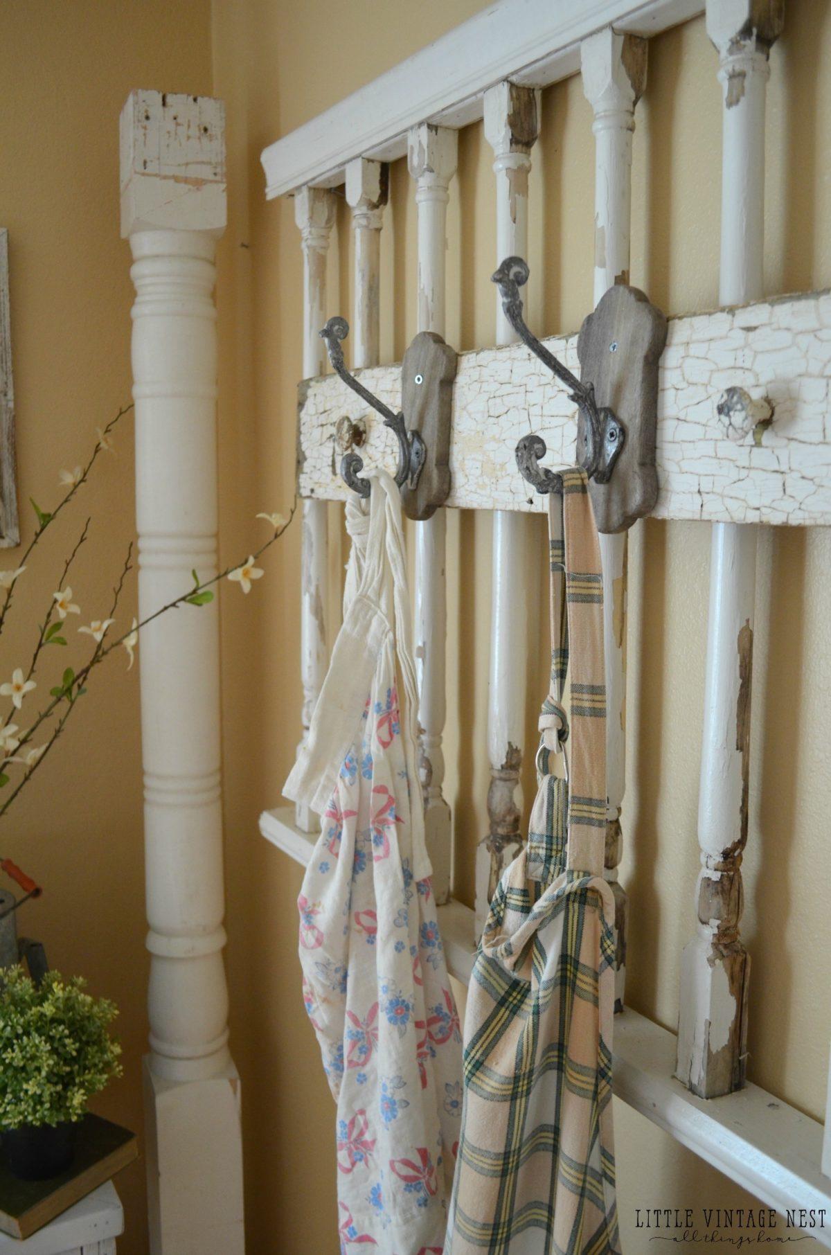 DIY Vintage Apron Rack