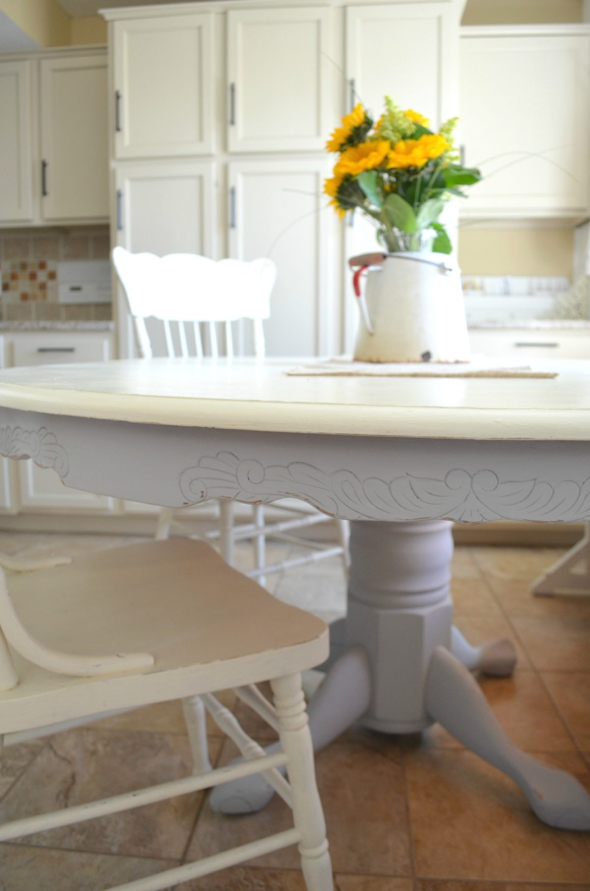 Farmhouse style painted dining room table