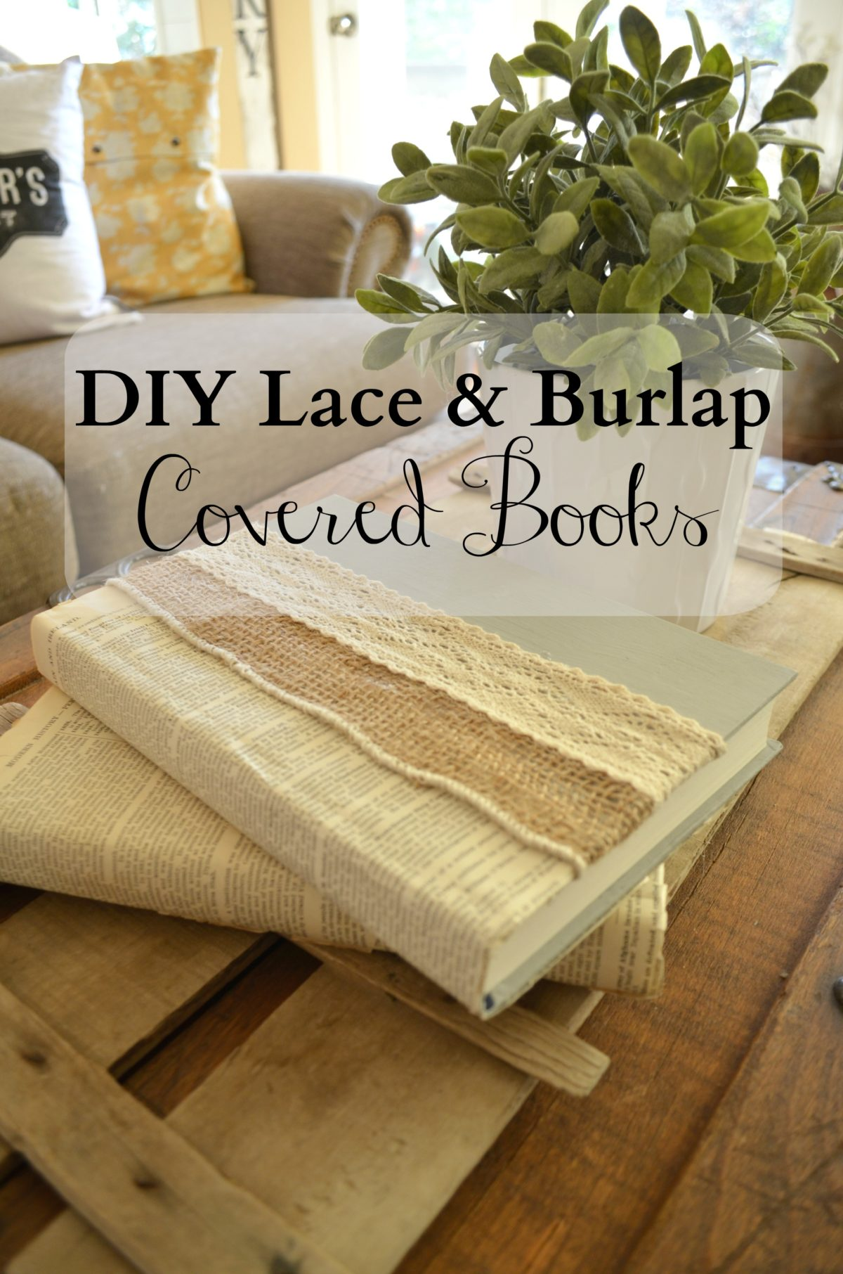 DIY Lace and Burlap Covered Book