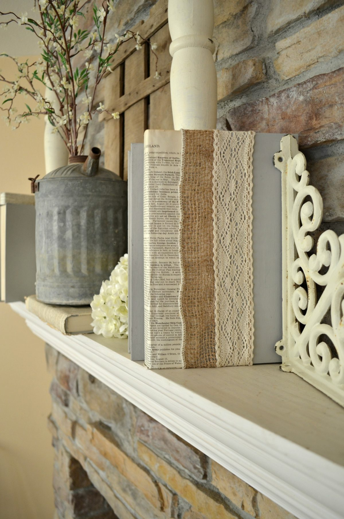 Diy Lace Book Cover ~ Diy lace burlap covered books little vintage nest