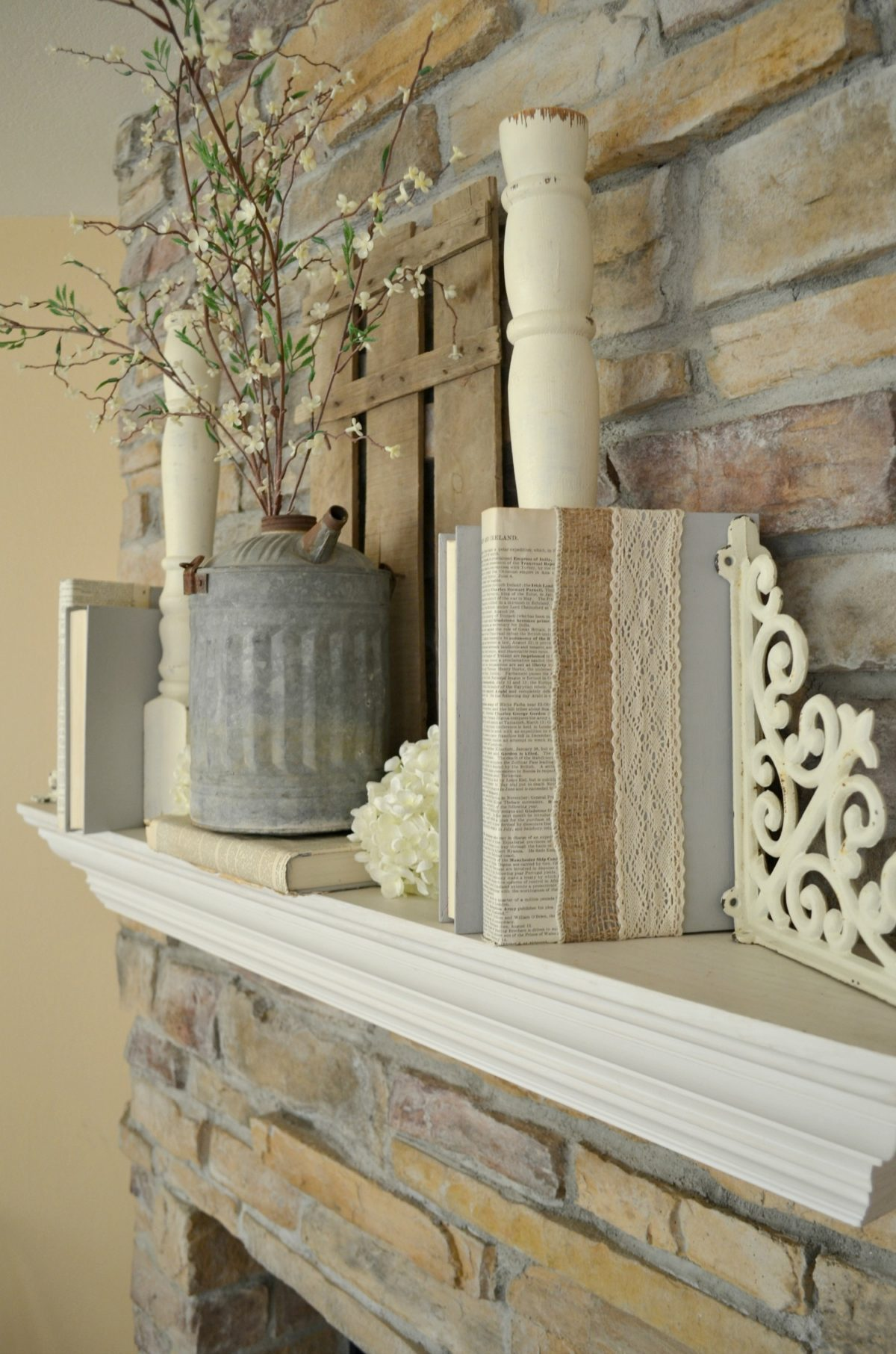 Farmhouse Mantel with Burlap and Lace Covered Books