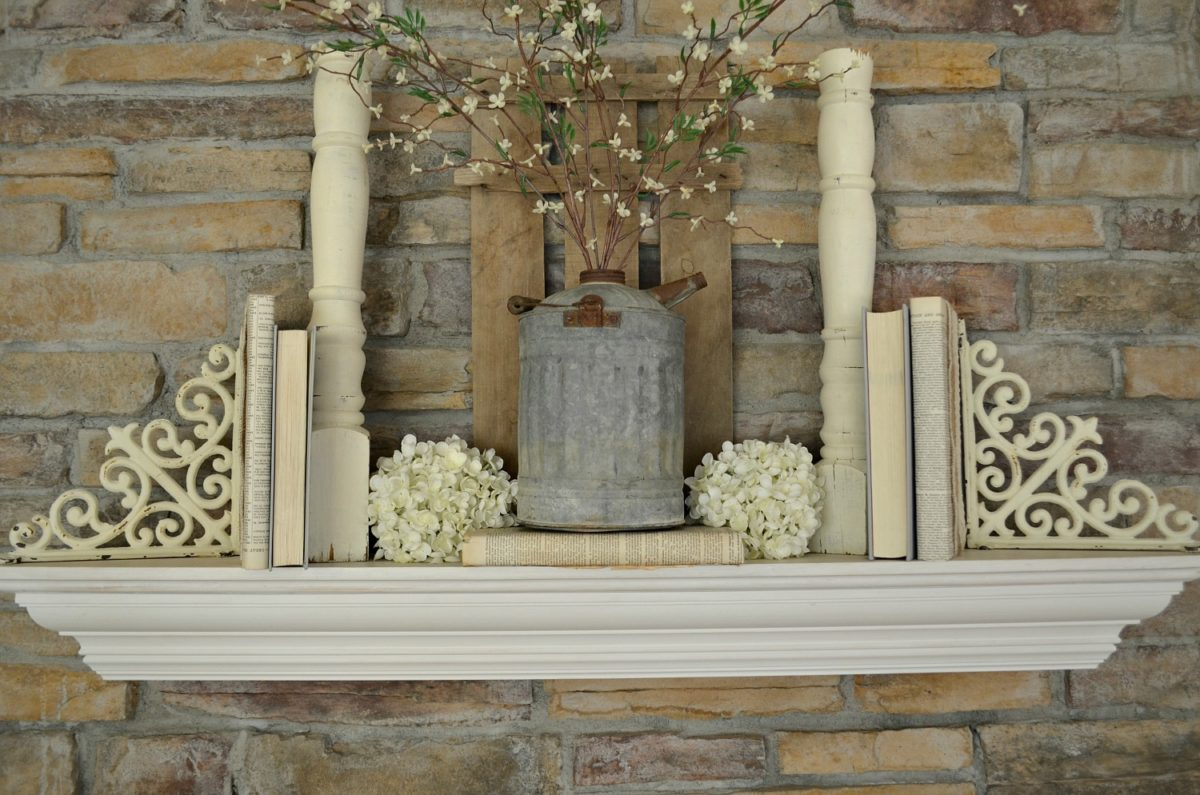 Farmhouse Style Mantel with Burlap and Lace Covered Books
