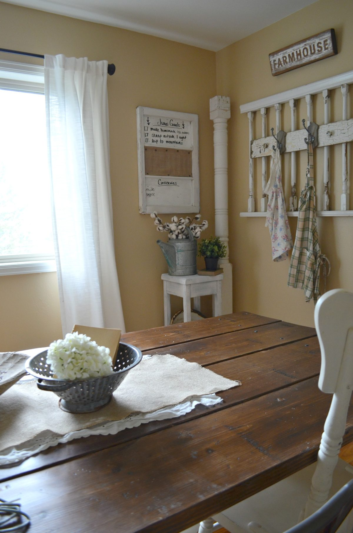 Exceptional Monthly Goals On Old Window In Dining Room