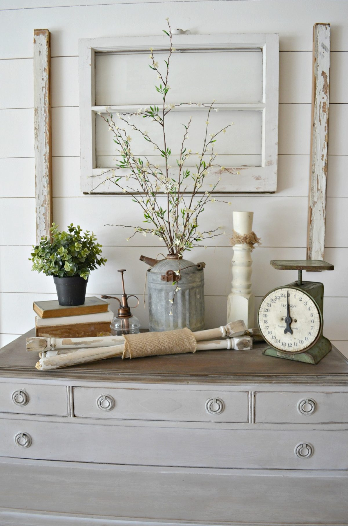 Simple ways to decorate with spindles little vintage nest old window farmhouse decor spindles amipublicfo Gallery