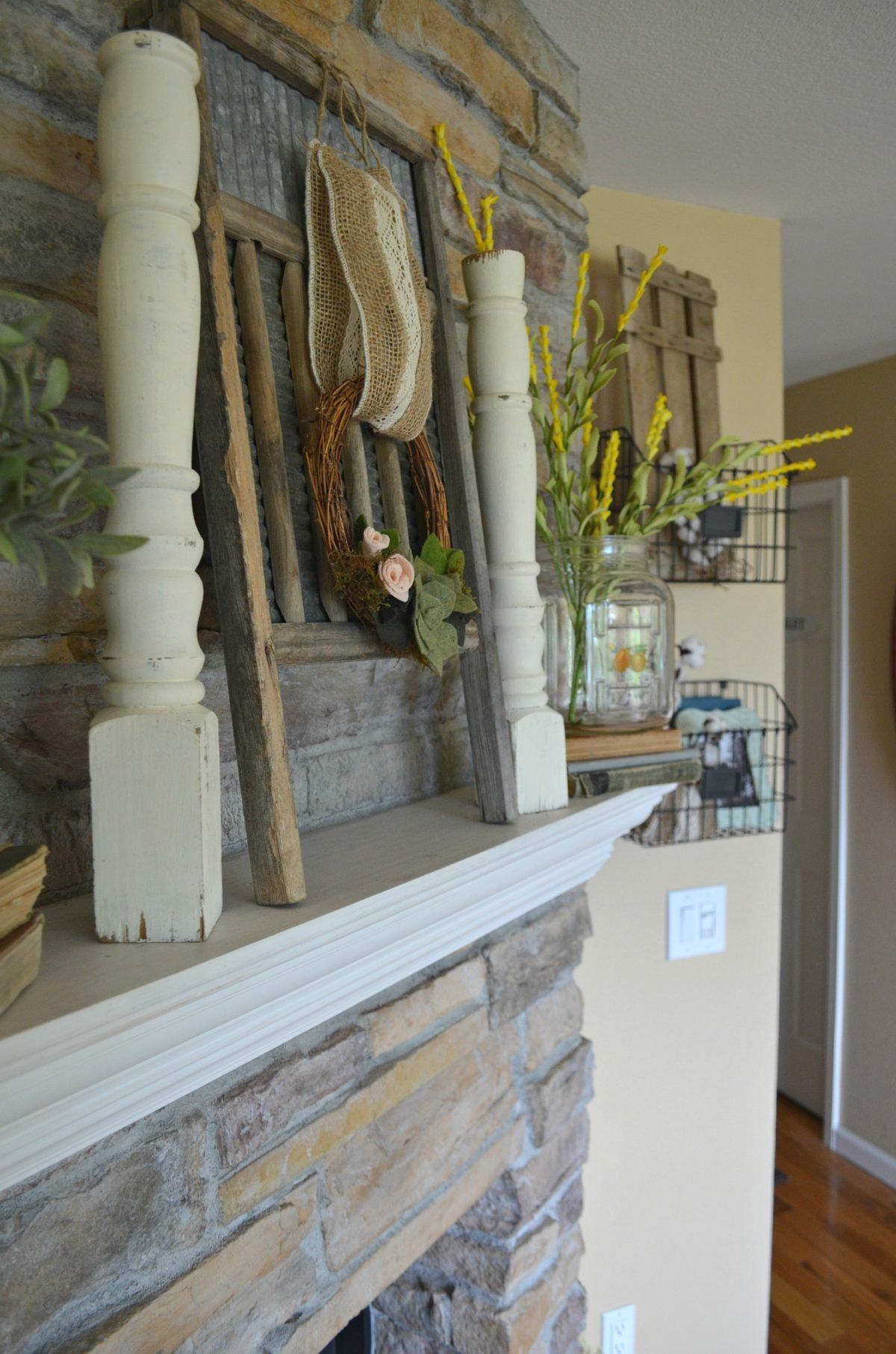 Summertime Mantel Vintage Style and Old Glass Jar