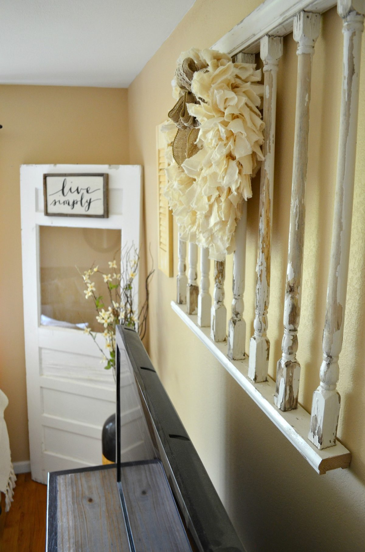 Vintage Porch Railing hanging on wall