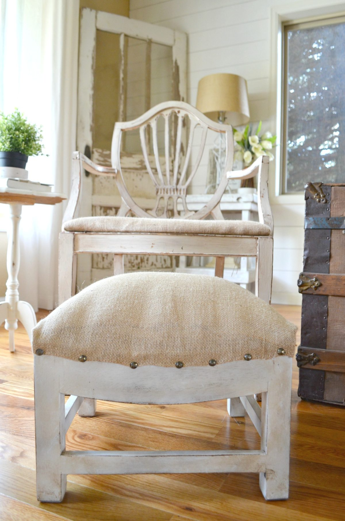 Easy Farmhouse Style Foot Stool Makeover Little Vintage Nest