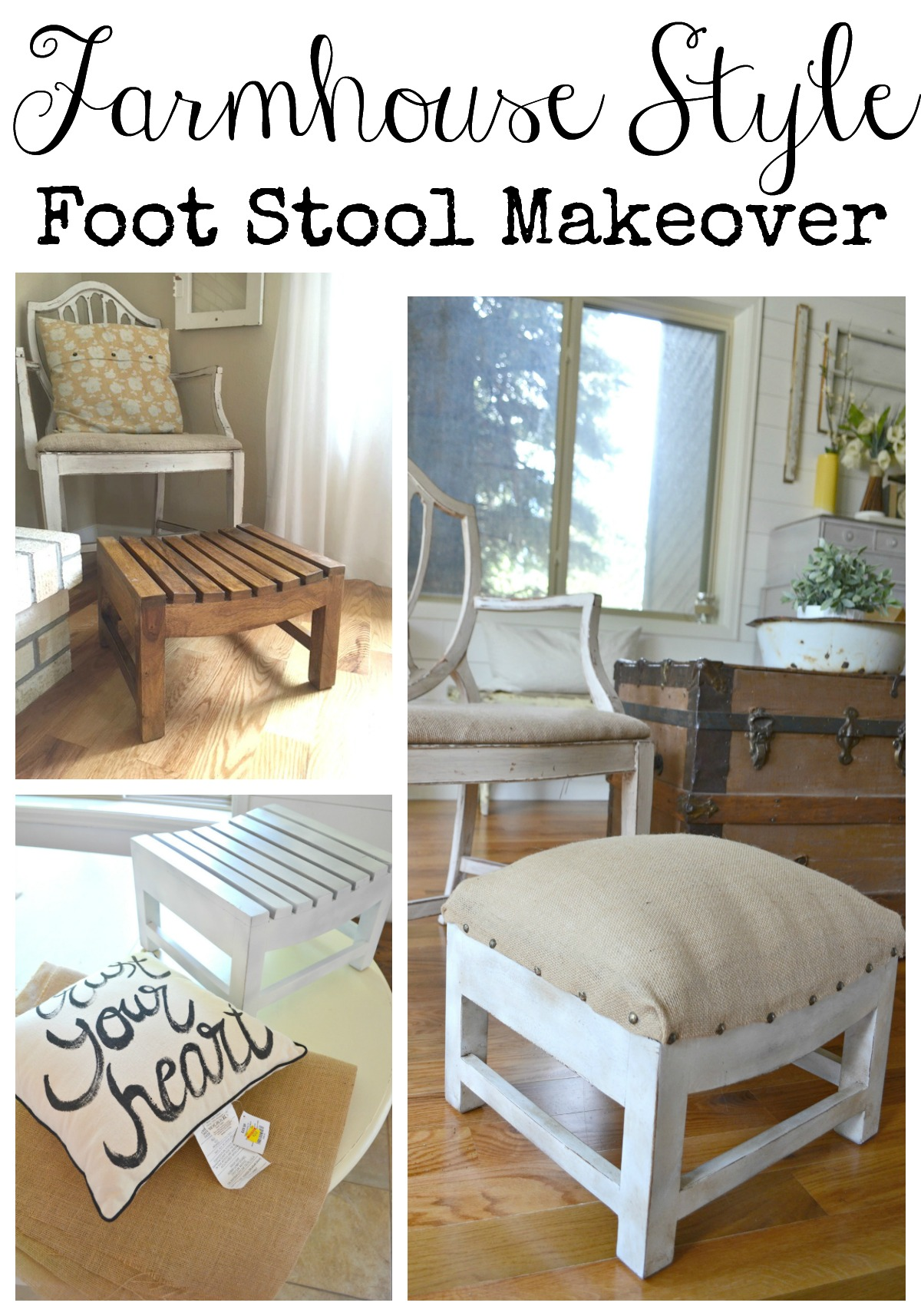 Farmhouse Style Foot Stool Makeover