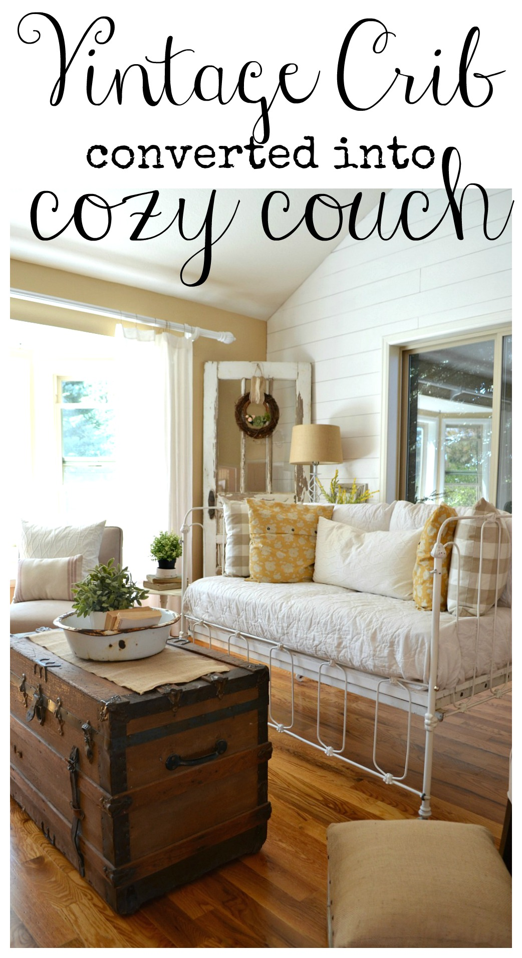 Vintage Crib Converted into Cozy Couch