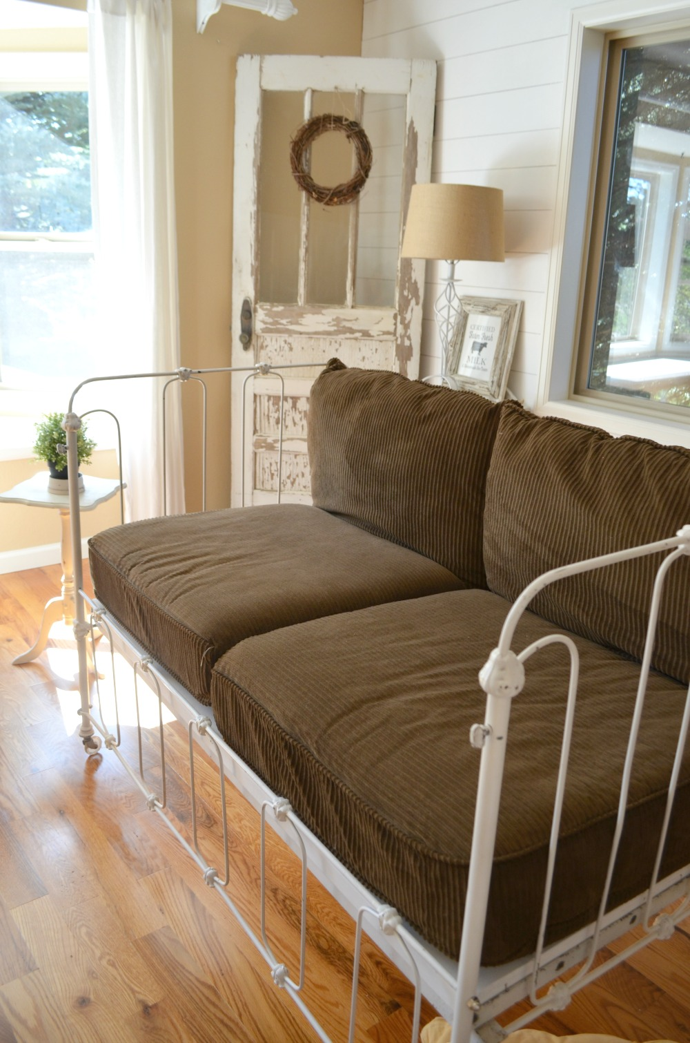Vintage Crib Turned Couch with Cushions