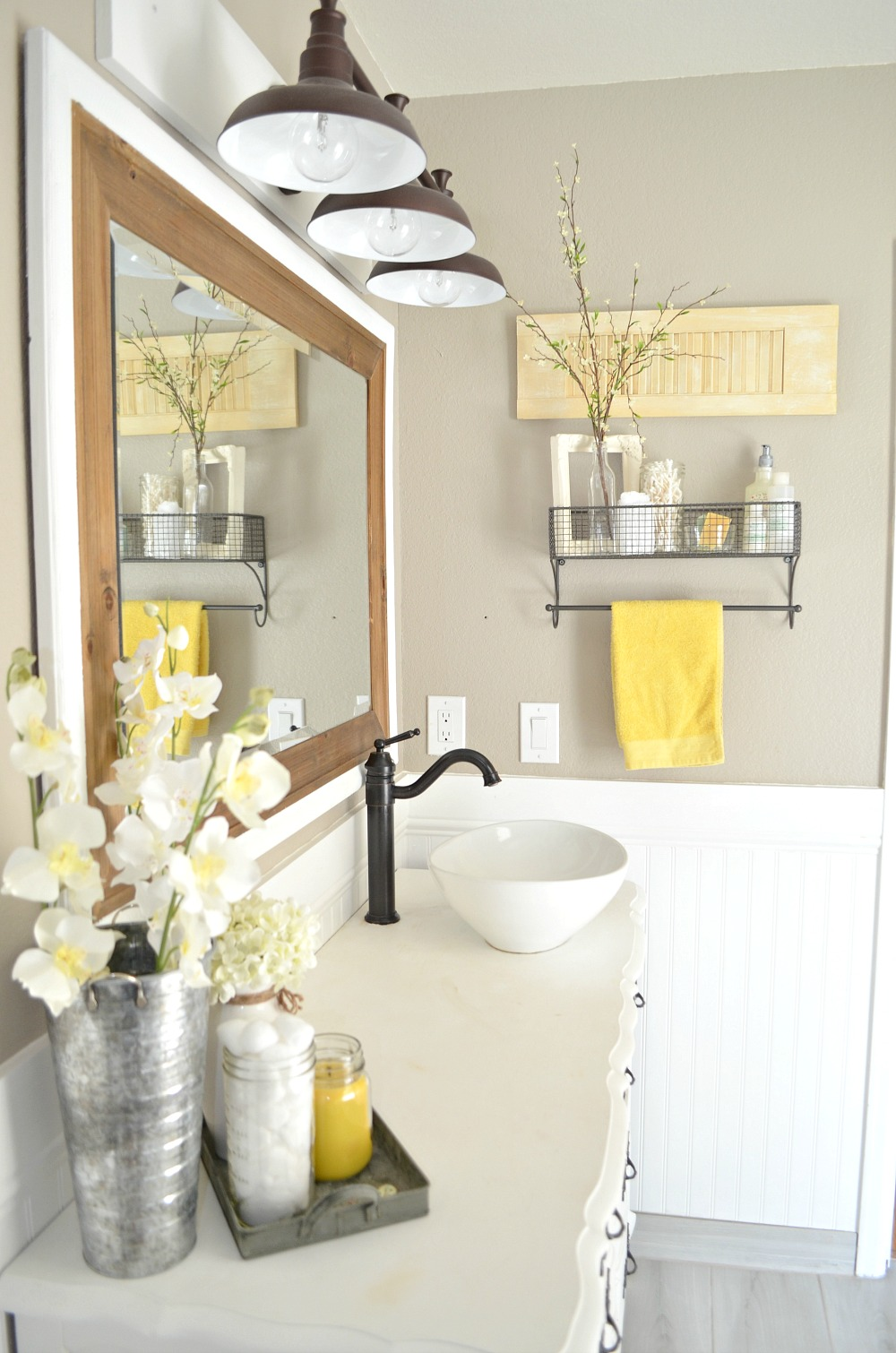 How to easily mix vintage and modern decor little for Grey and white bathroom accessories