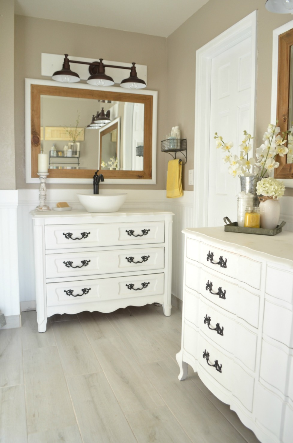 Farmhouse Bathroom Old Dressers used as Vanities
