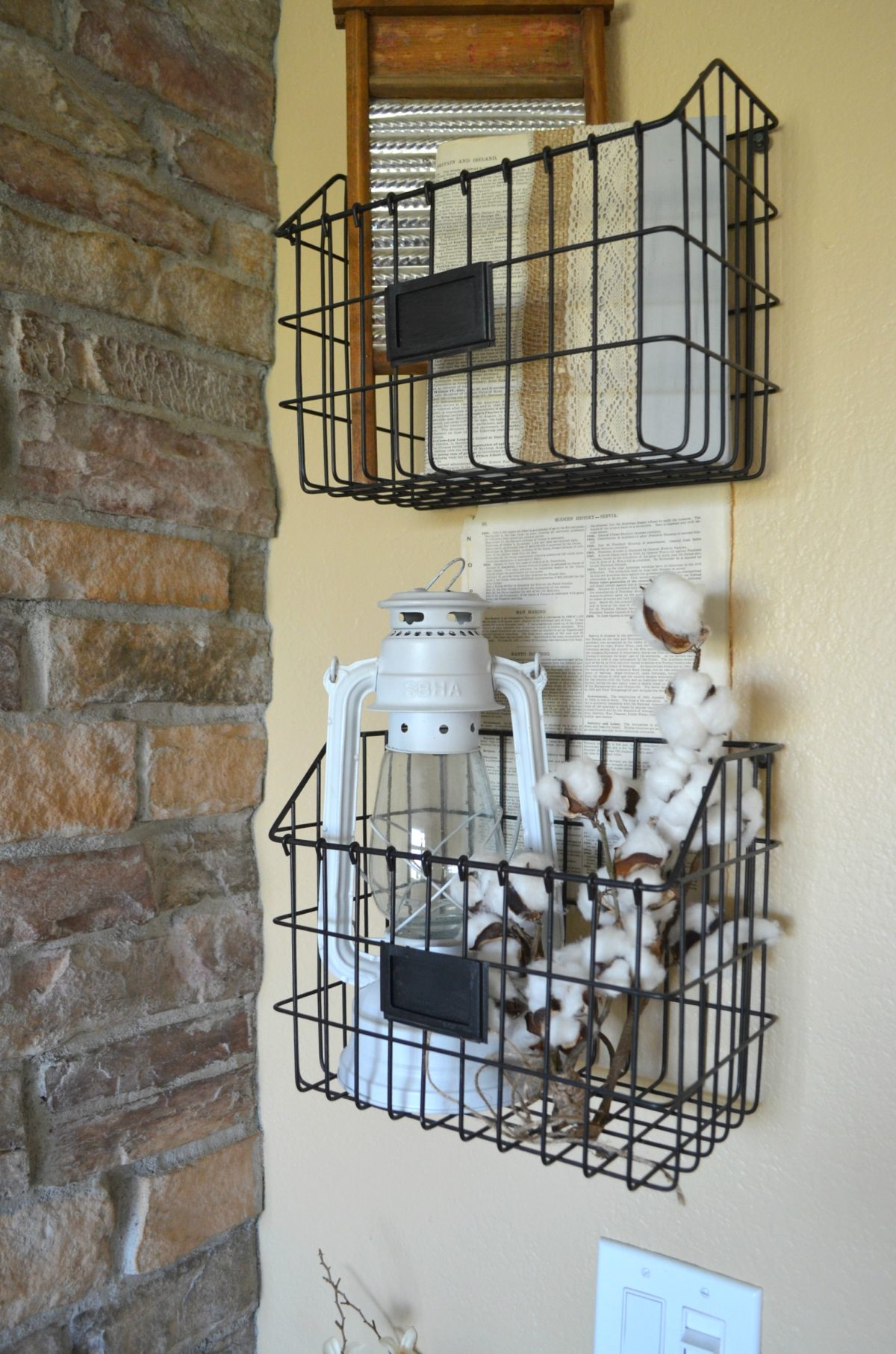Wall Mounted Baskets Farmhouse Decor