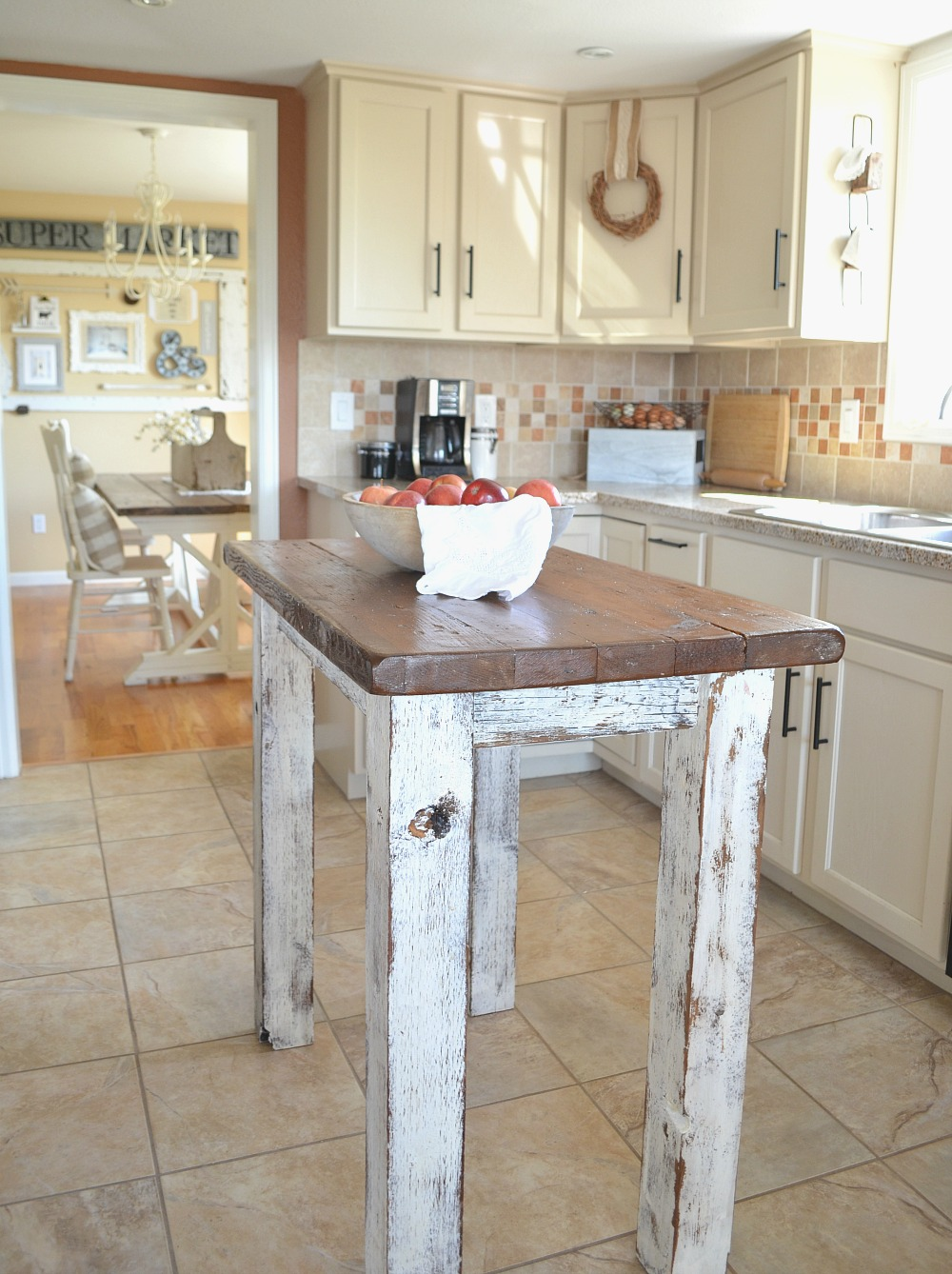 Country Kitchen and Breakfast Nook Tour Rustic Island