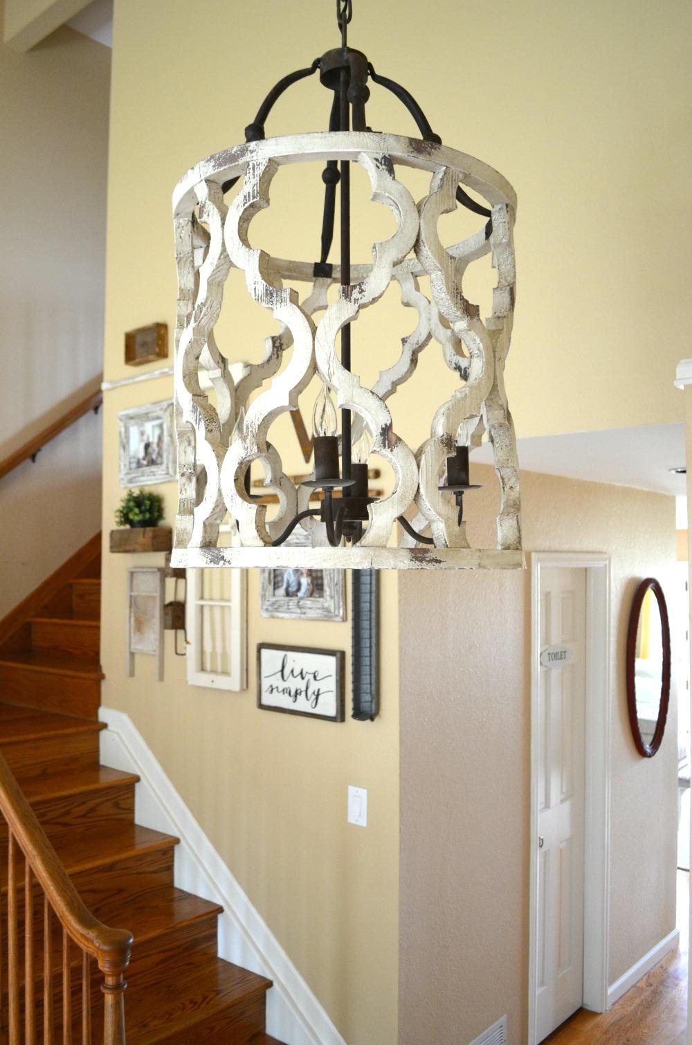 Farmhouse Foyer Chandelier : Updated entryway the prettiest chandelier little