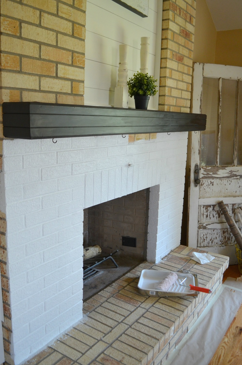 how to paint a brick fireplace little vintage nest