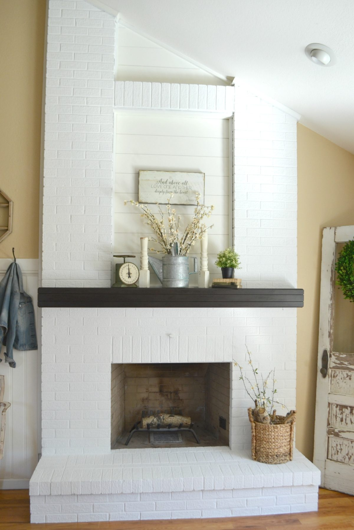 Brick Fireplace Part - 48: How To Paint A Brick Fireplace Little Vintage Nest