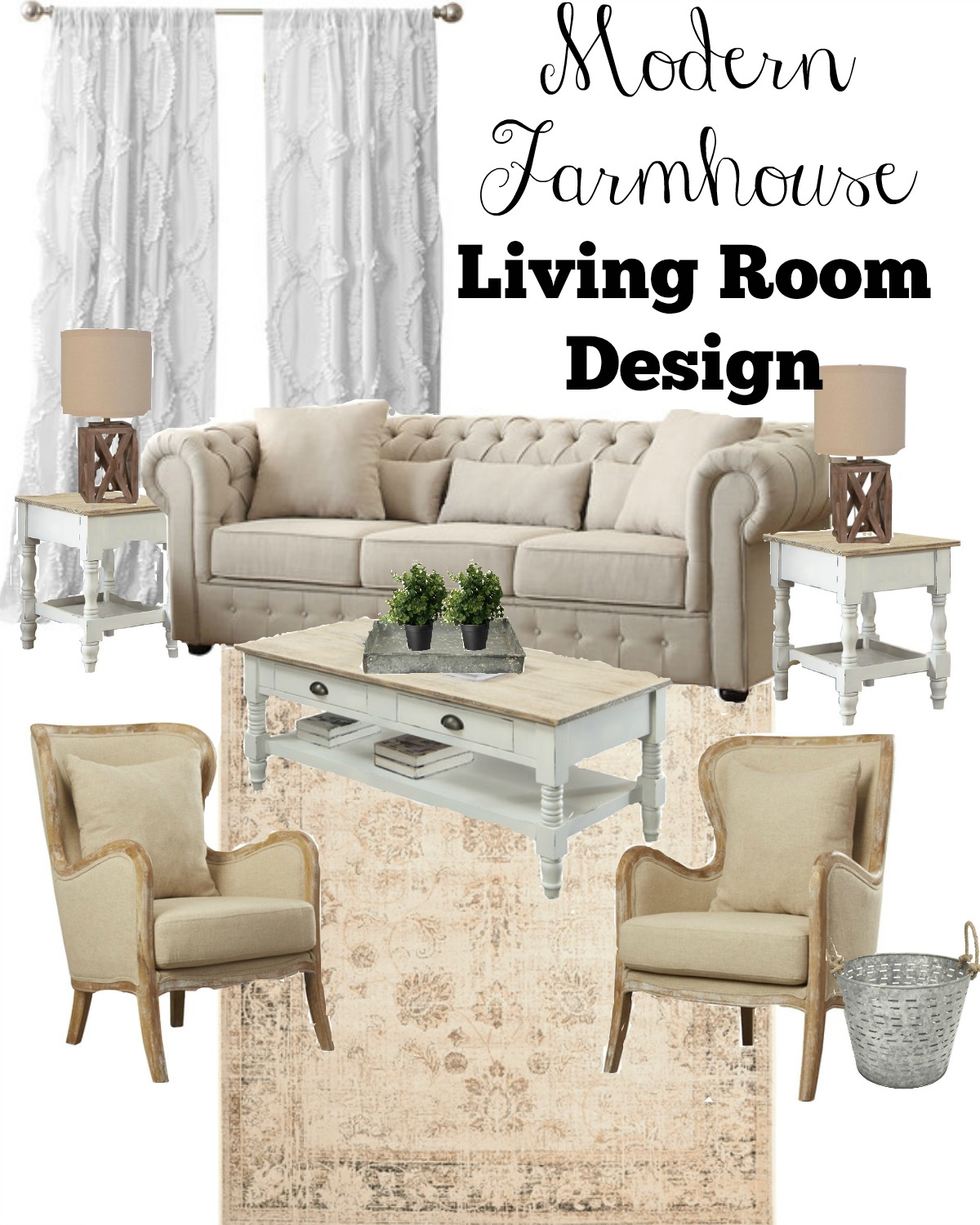 3 key tips for a farmhouse style living room - Modern Farmhouse Living Room