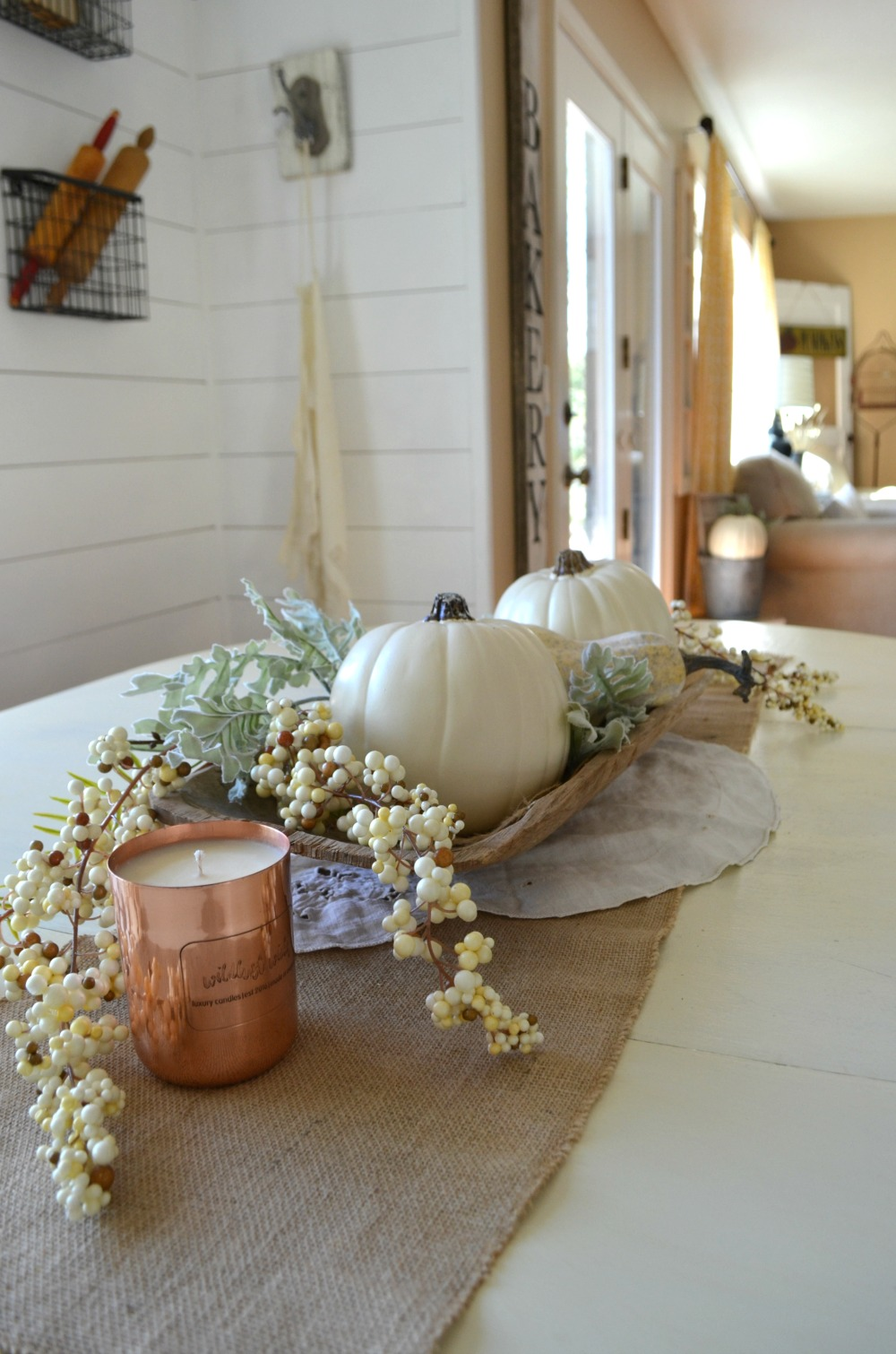 Neutral fall centerpiece little vintage nest