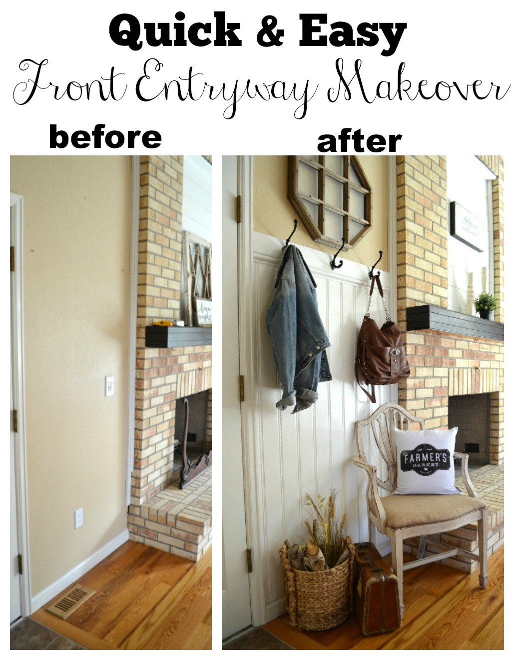 Quick and Easy Farmhouse Style Front Entryway Makeover
