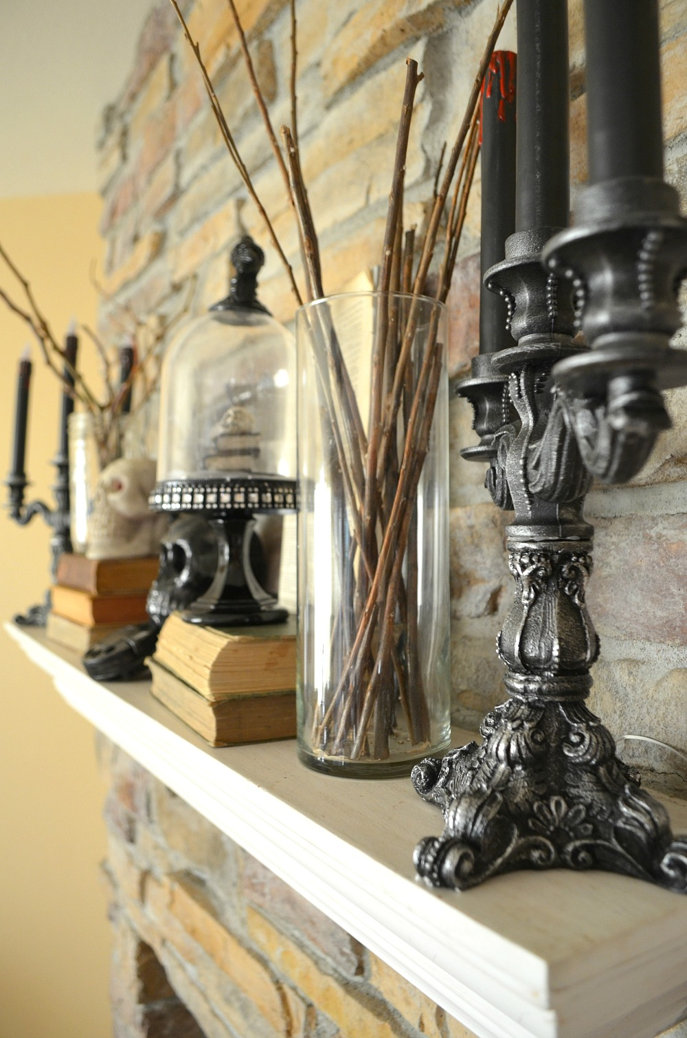 Vintage Halloween Mantel with Home Depot