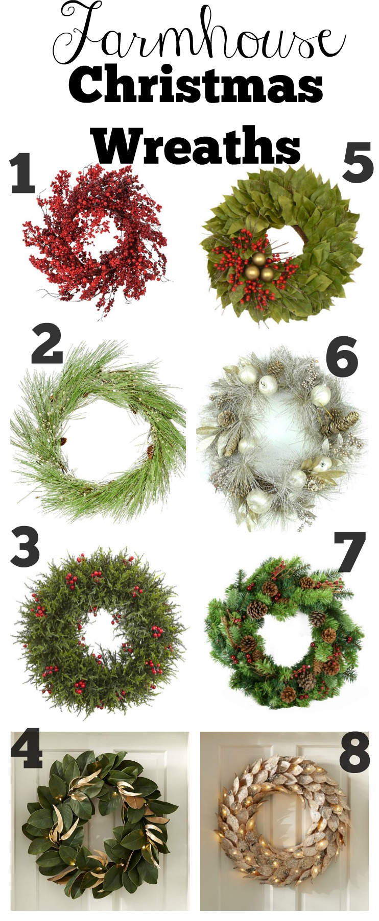 farmhouse style christmas wreaths - Farmhouse Christmas Decor