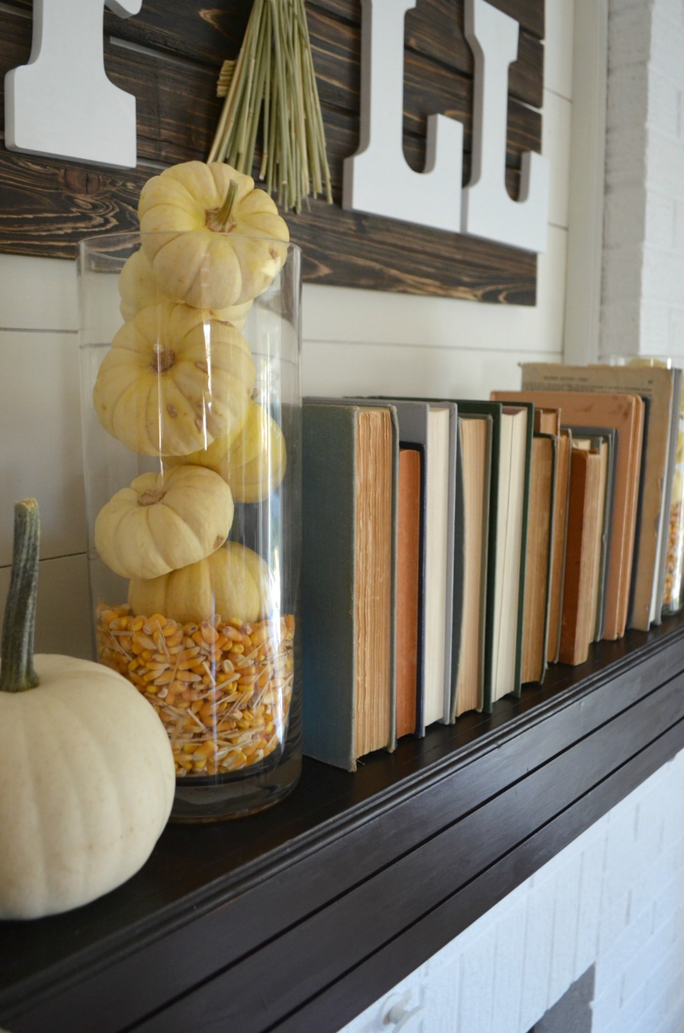 Fall Mantel: Old Books + Pumpkins