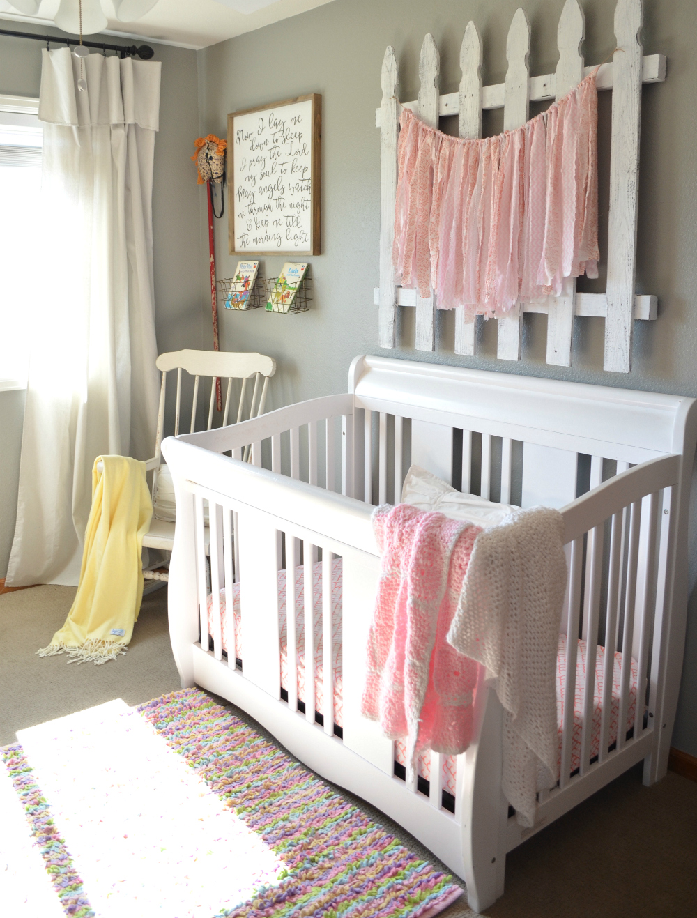 Baby Room For Girl. Vintage Farmhouse Nursery Baby Room For Girl