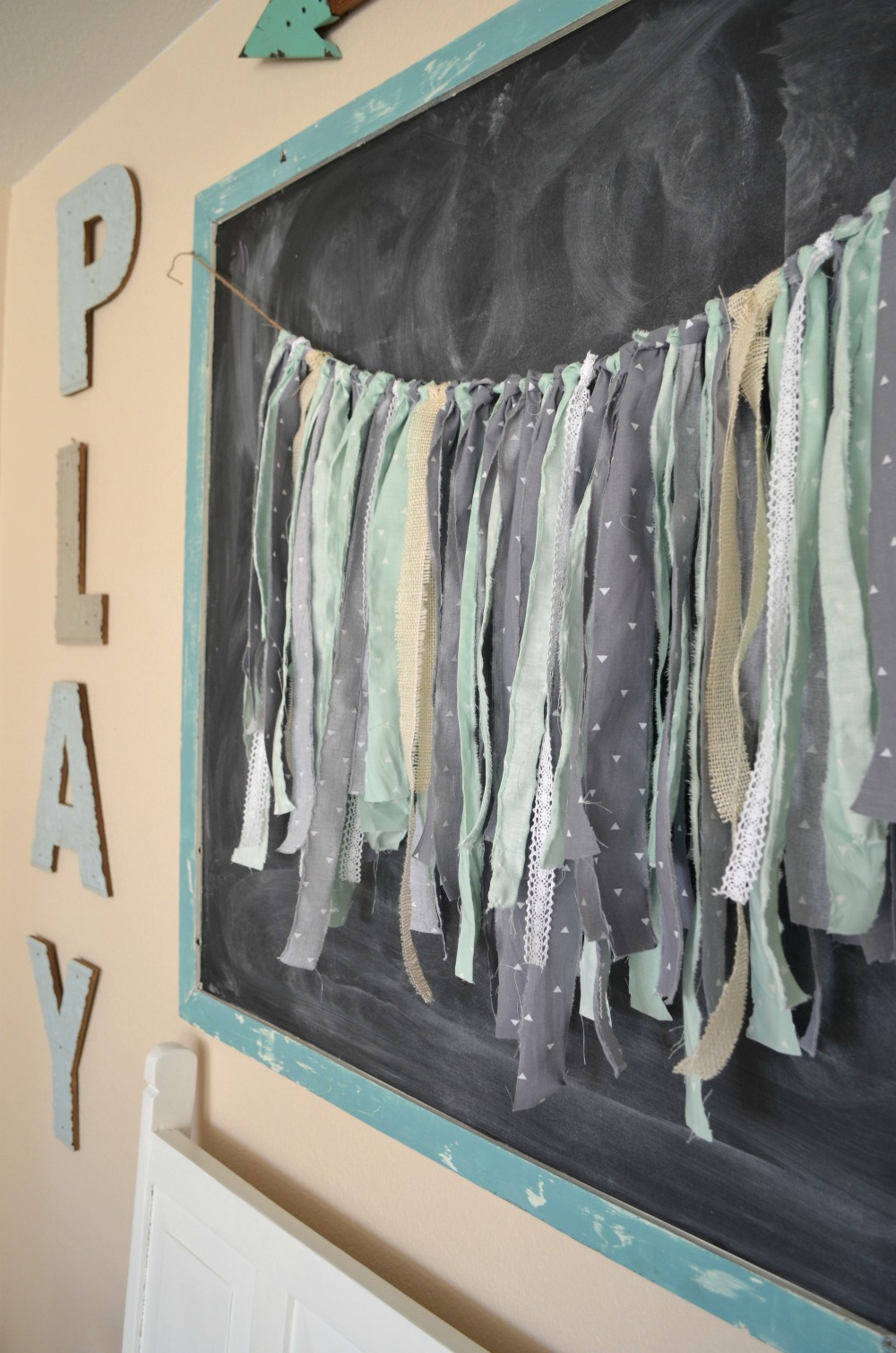 DIY Fabric Garland. Farmhouse Decor. Playroom Decor.