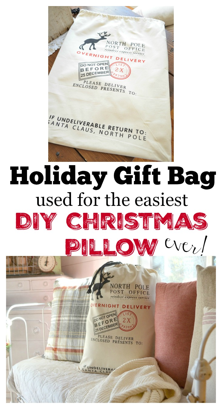 Holiday Gift Bag Used for the Easiest Christmas Pillow Ever