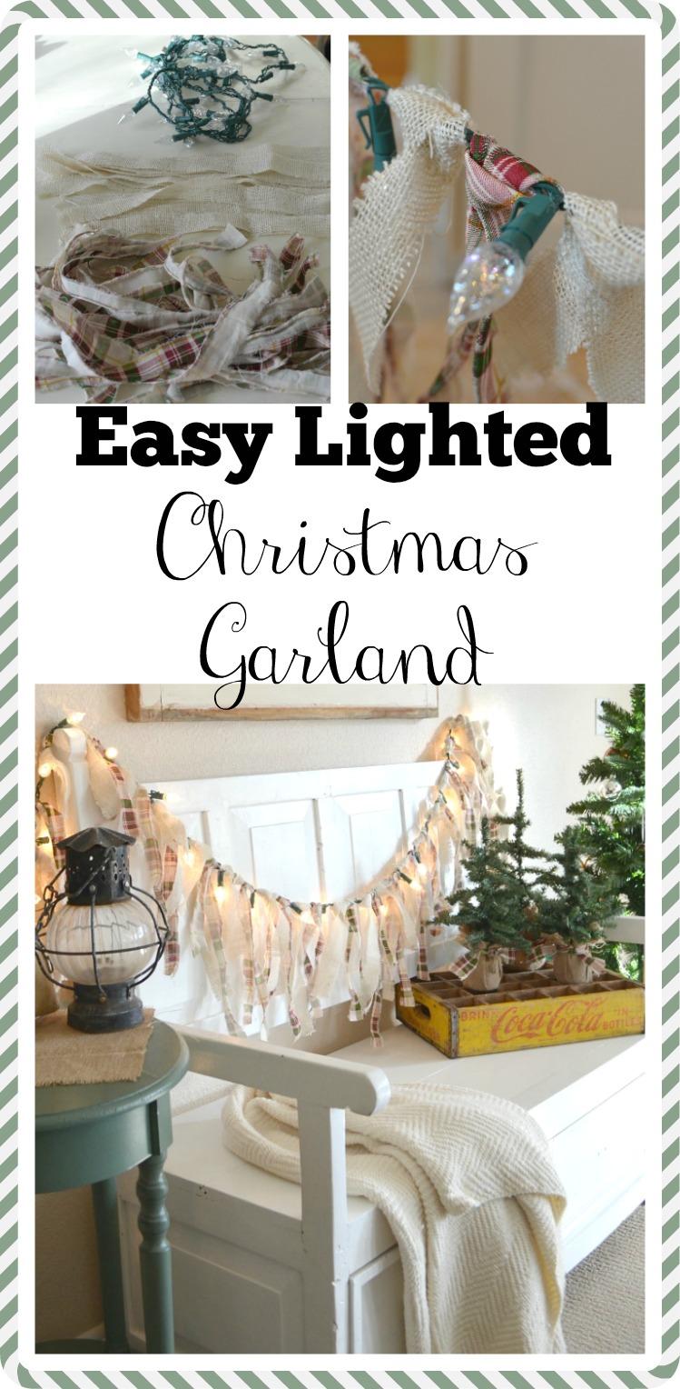 Easy Lighted Christmas Garland. Easy Farmhouse Christmas DIY.