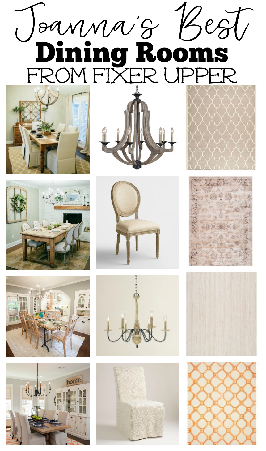 Need dining room inspiration? Check out Joanna Gaines best dining rooms from Fixer Upper. And see the products to help you create the look in your own home.